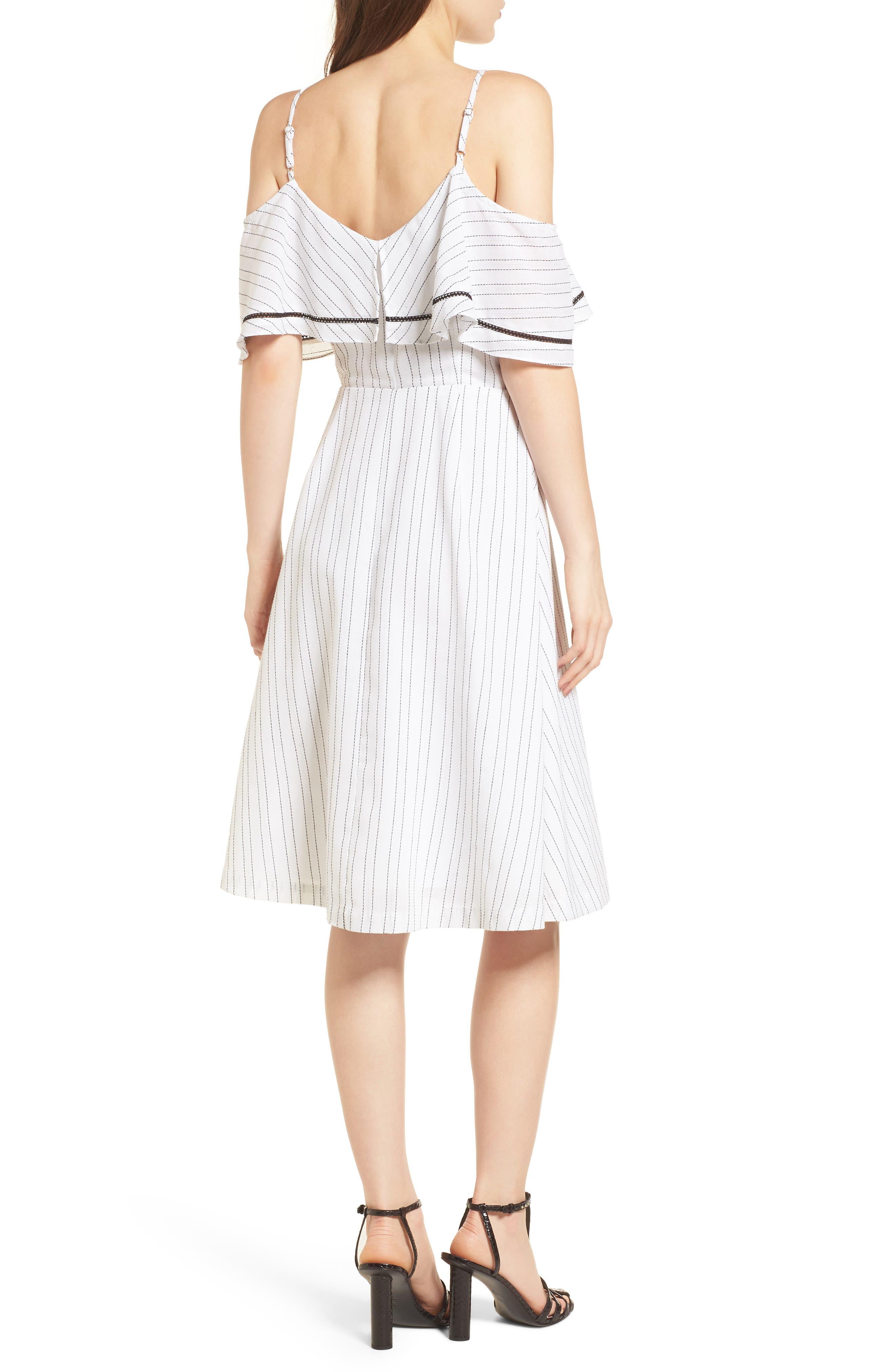 Cold Shoulder Midi Dress,                             Alternate thumbnail 3, color,                             White/ Black