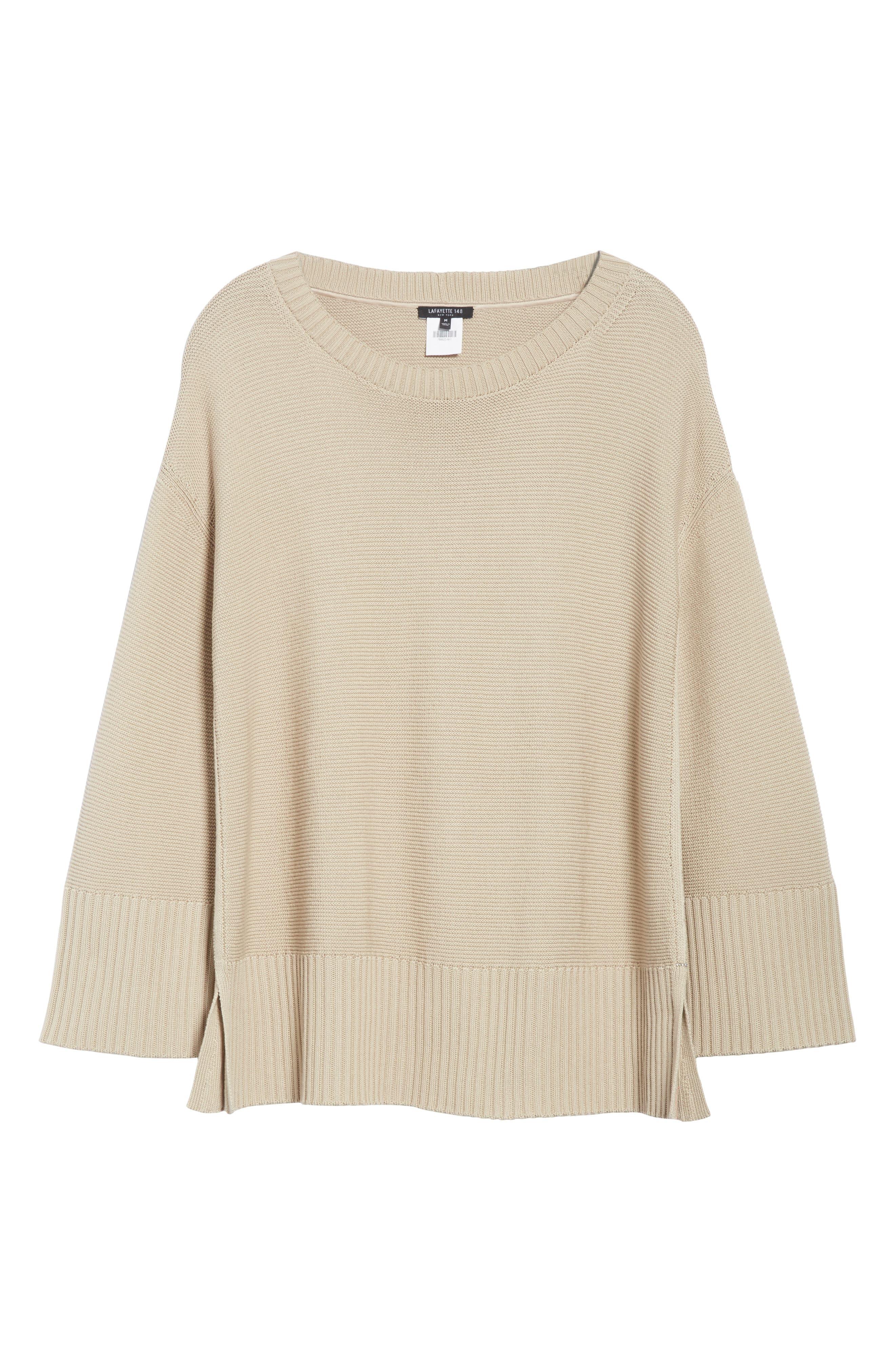 Cotton & Silk Sweater,                             Alternate thumbnail 6, color,                             Khaki