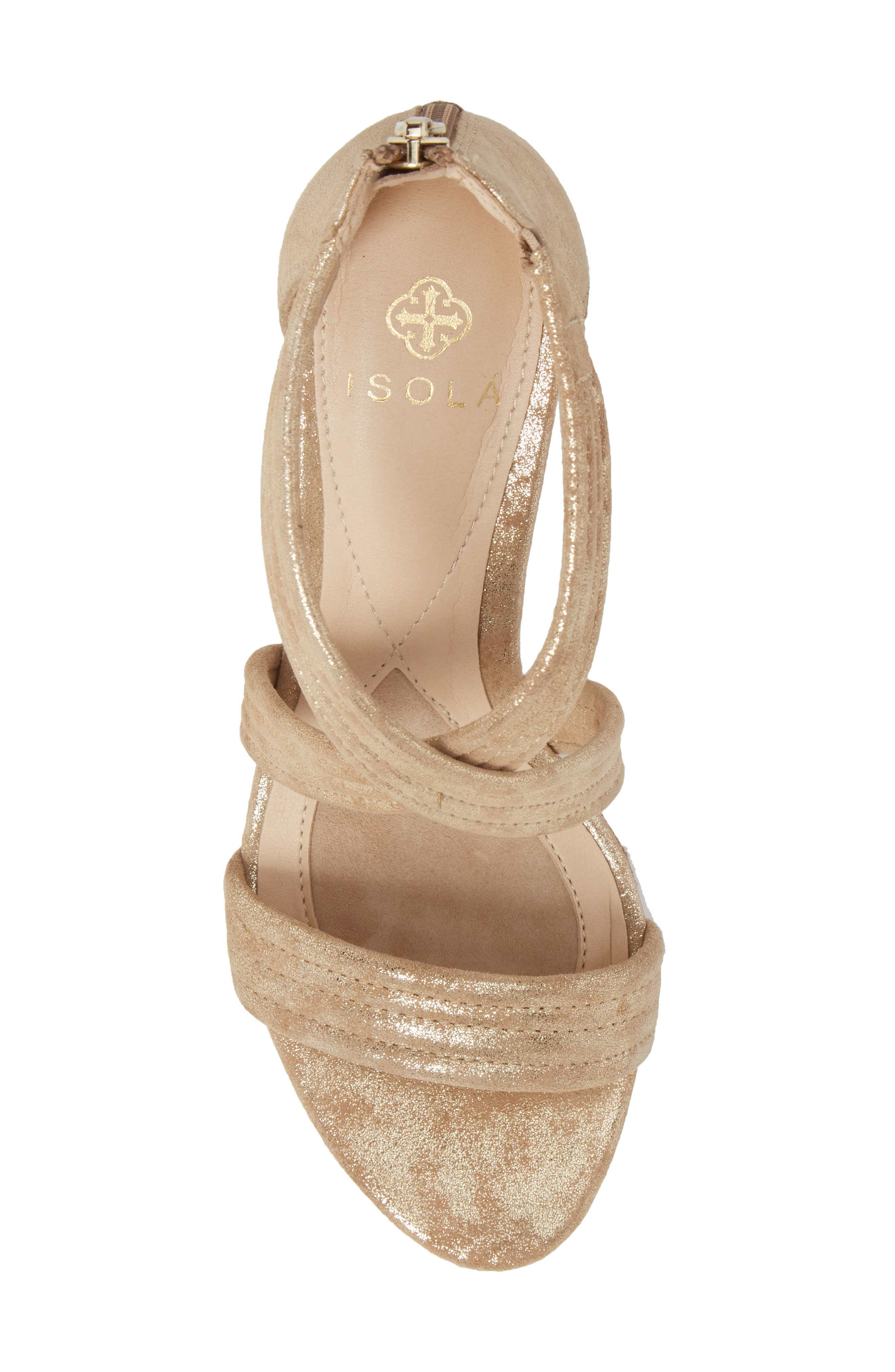 Fia Wedge Sandal,                             Alternate thumbnail 5, color,                             Platino Distressed Suede