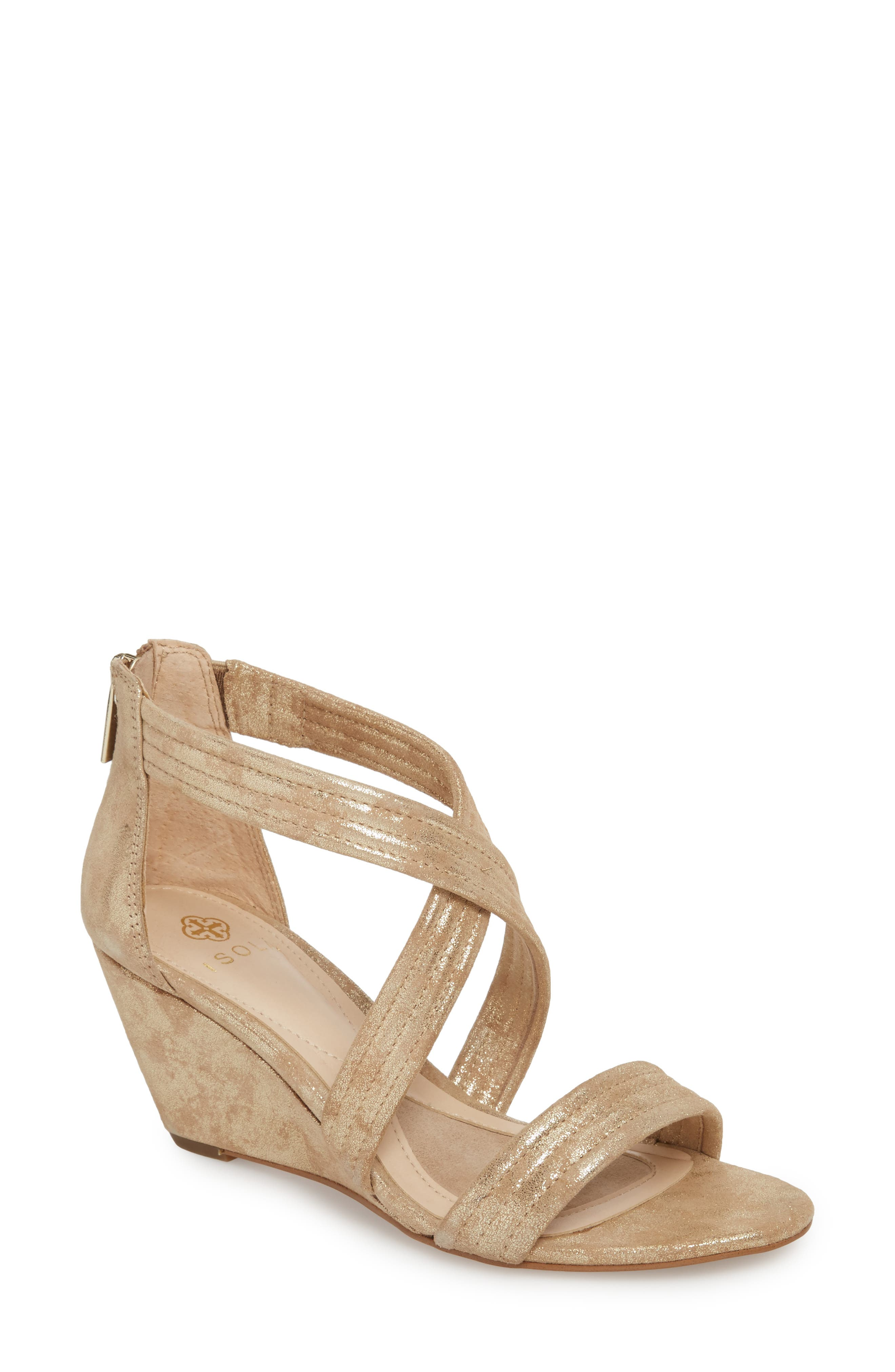 Fia Wedge Sandal,                         Main,                         color, Platino Distressed Suede