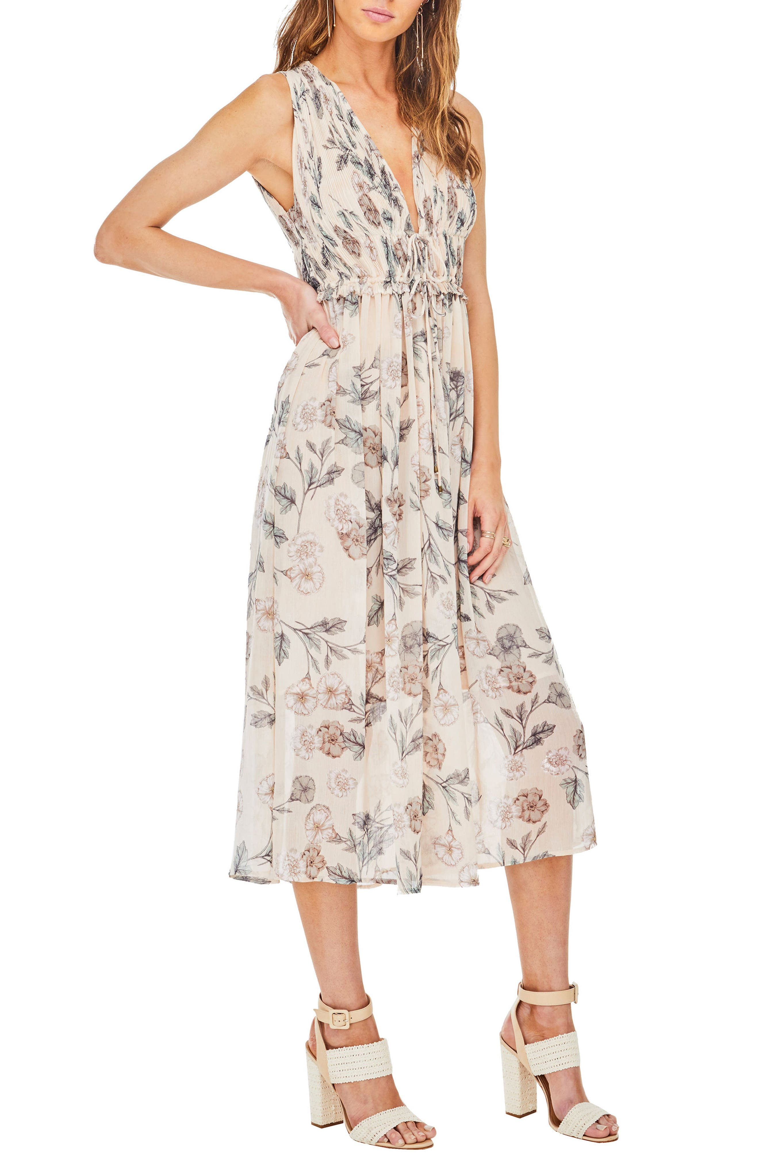 Miranda Midi Dress,                             Main thumbnail 1, color,                             Dusty Blush Floral