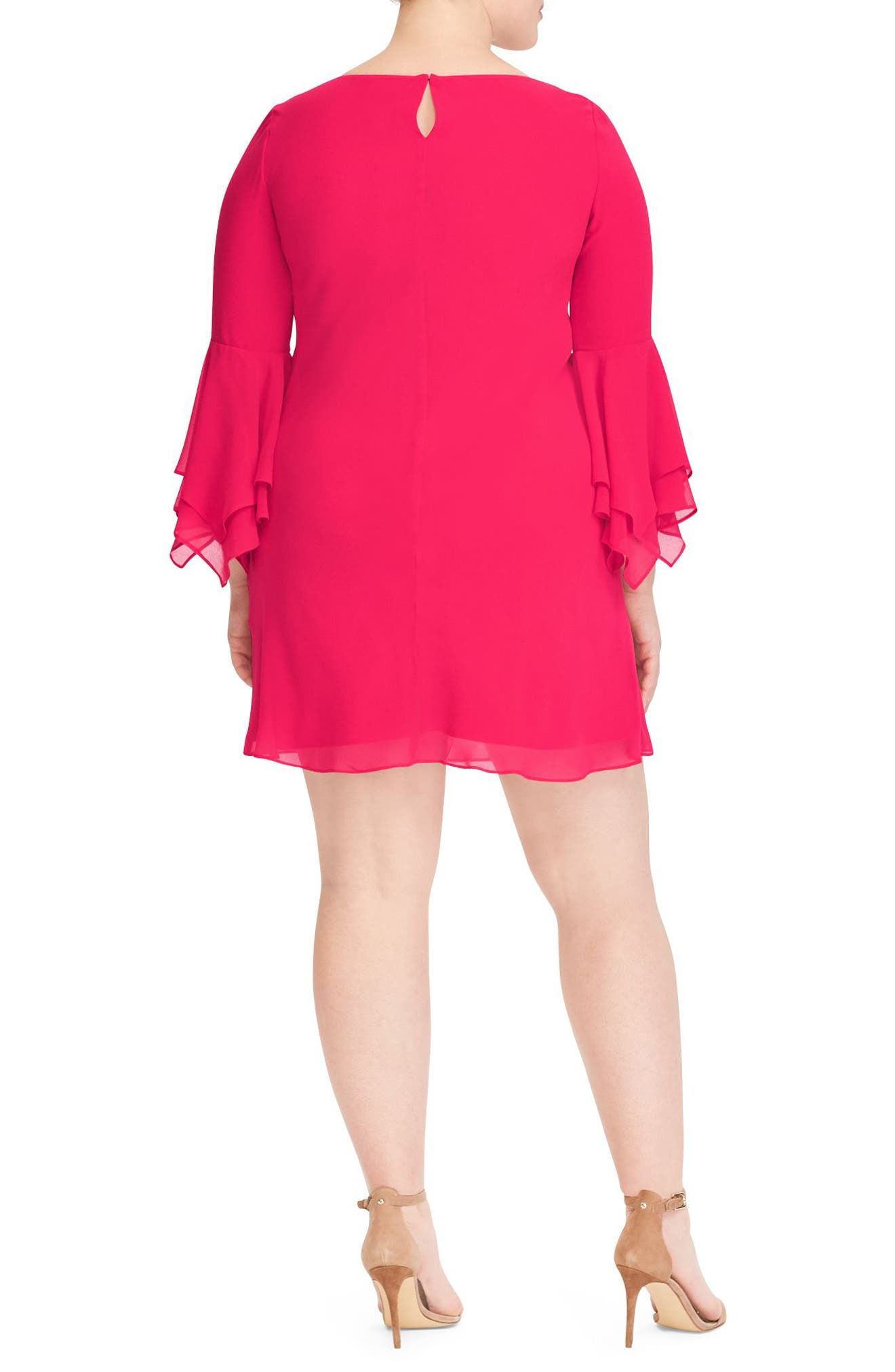 Bell Sleeve A-Line Dress,                             Alternate thumbnail 2, color,                             Pink Poppy