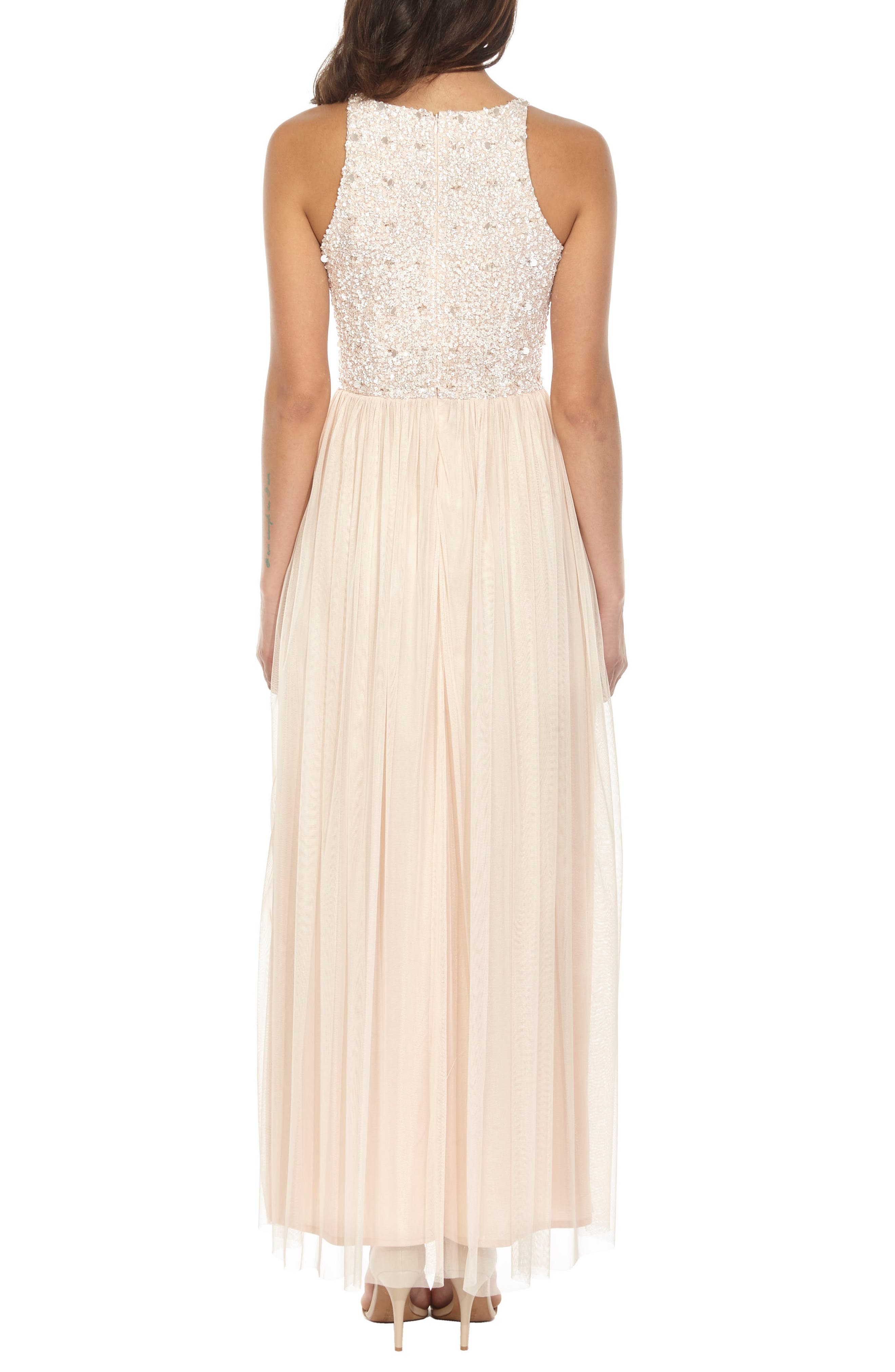 Picasso Embellished Bodice Maxi Dress,                             Alternate thumbnail 3, color,                             Nude