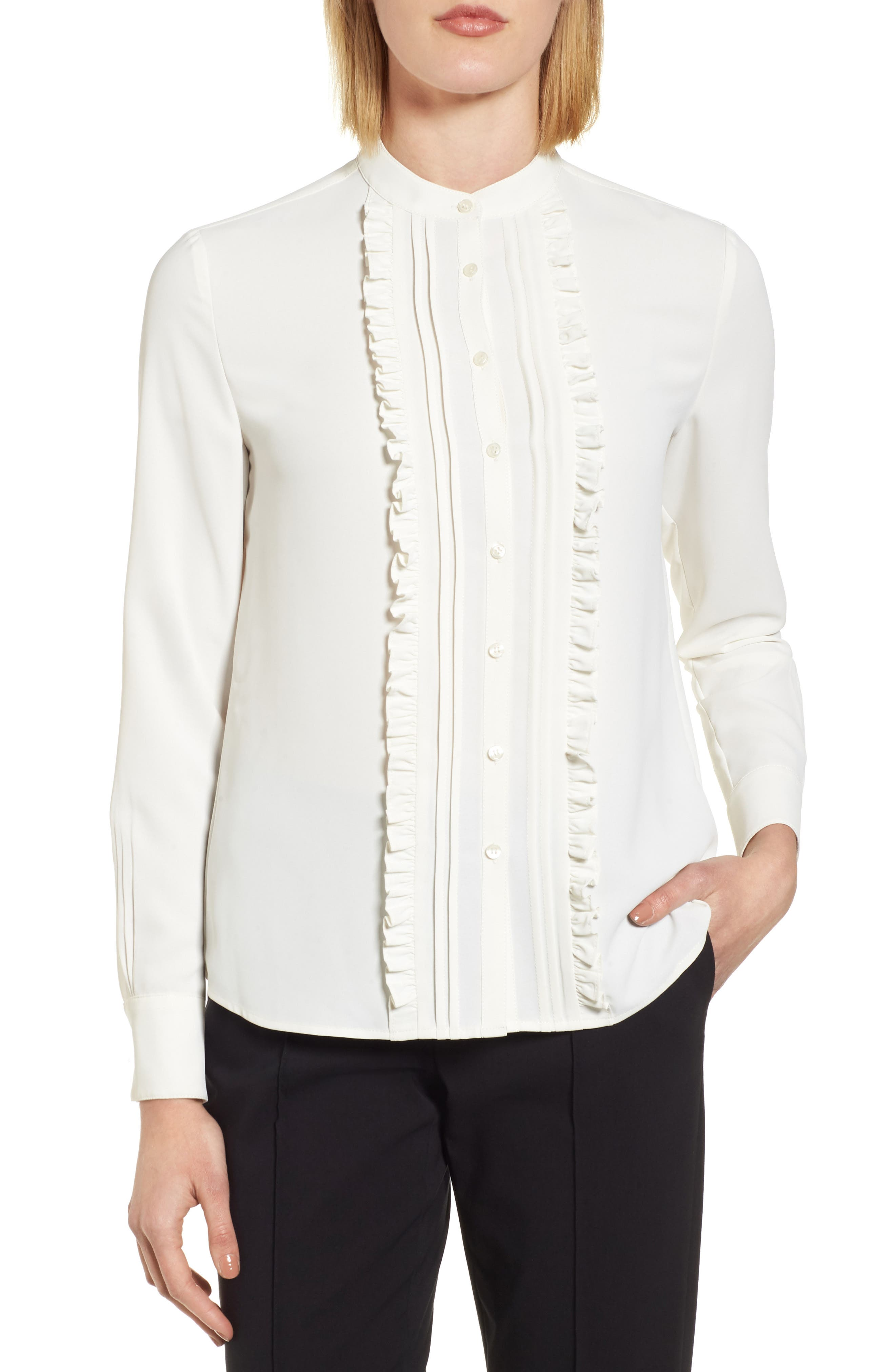 05b6681db130c Lyst Alice Olivia Jewel Ruffle Front Blouse In White