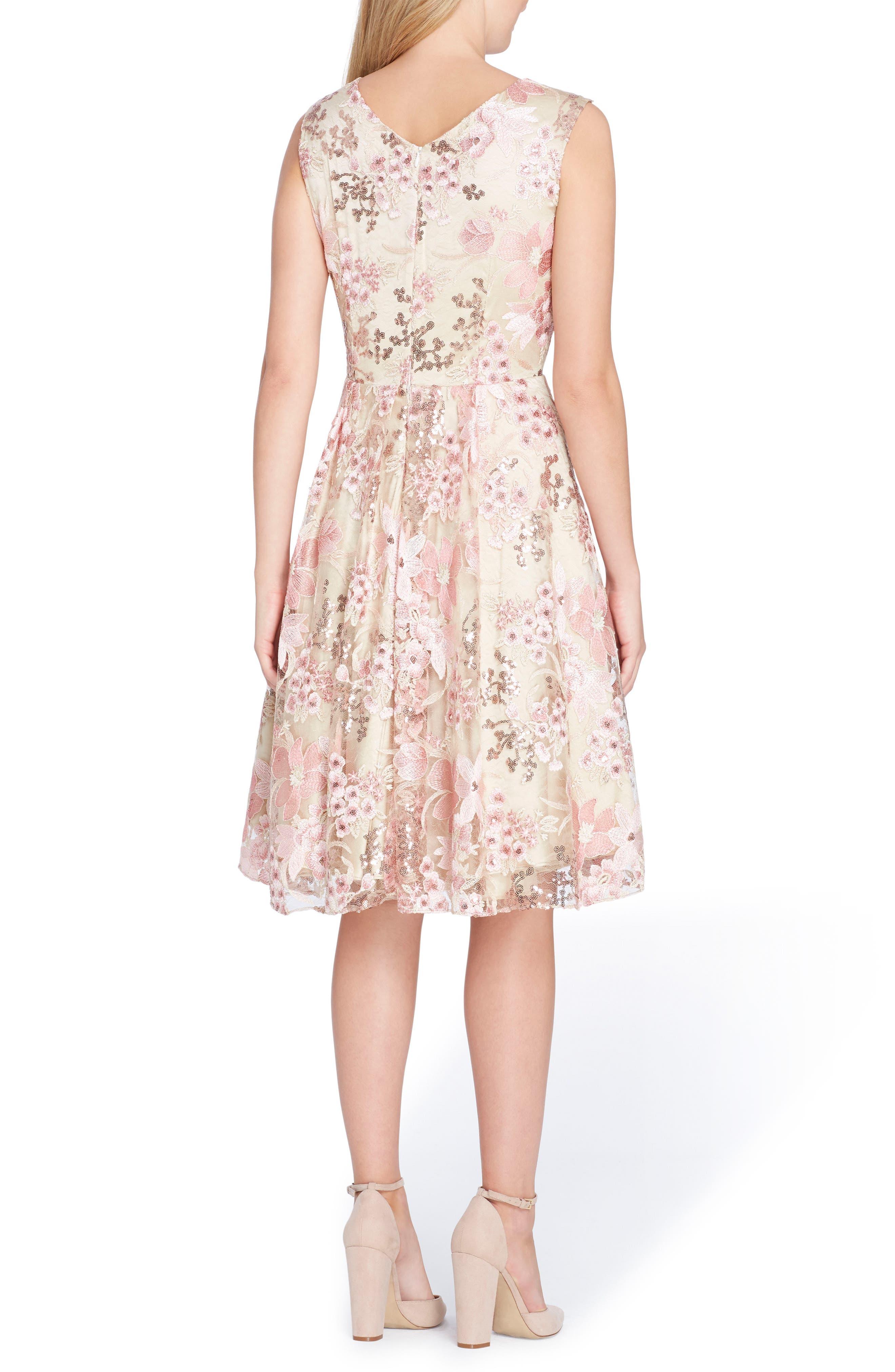 Sleeveless Embroidery Fit & Flare Dress,                             Alternate thumbnail 2, color,                             Nude/ Tea Rose/ Blush