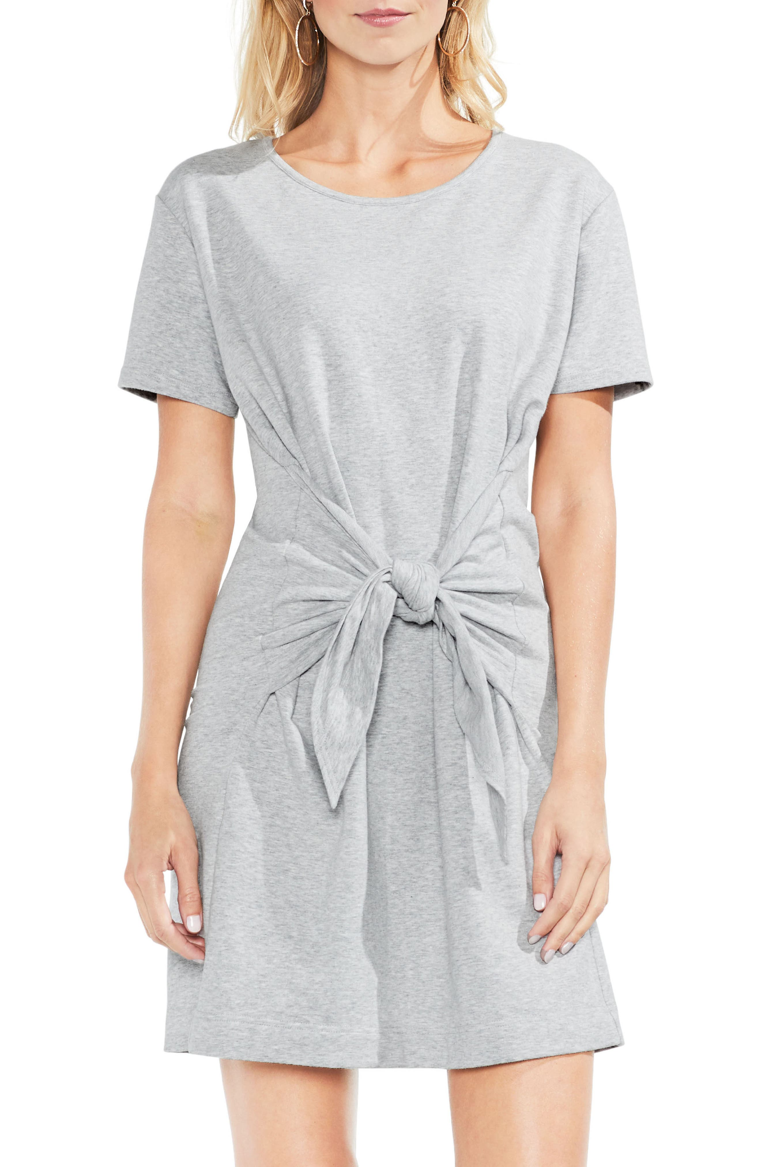 Tie Front Peached French Terry Dress,                             Main thumbnail 1, color,                             Grey Heather