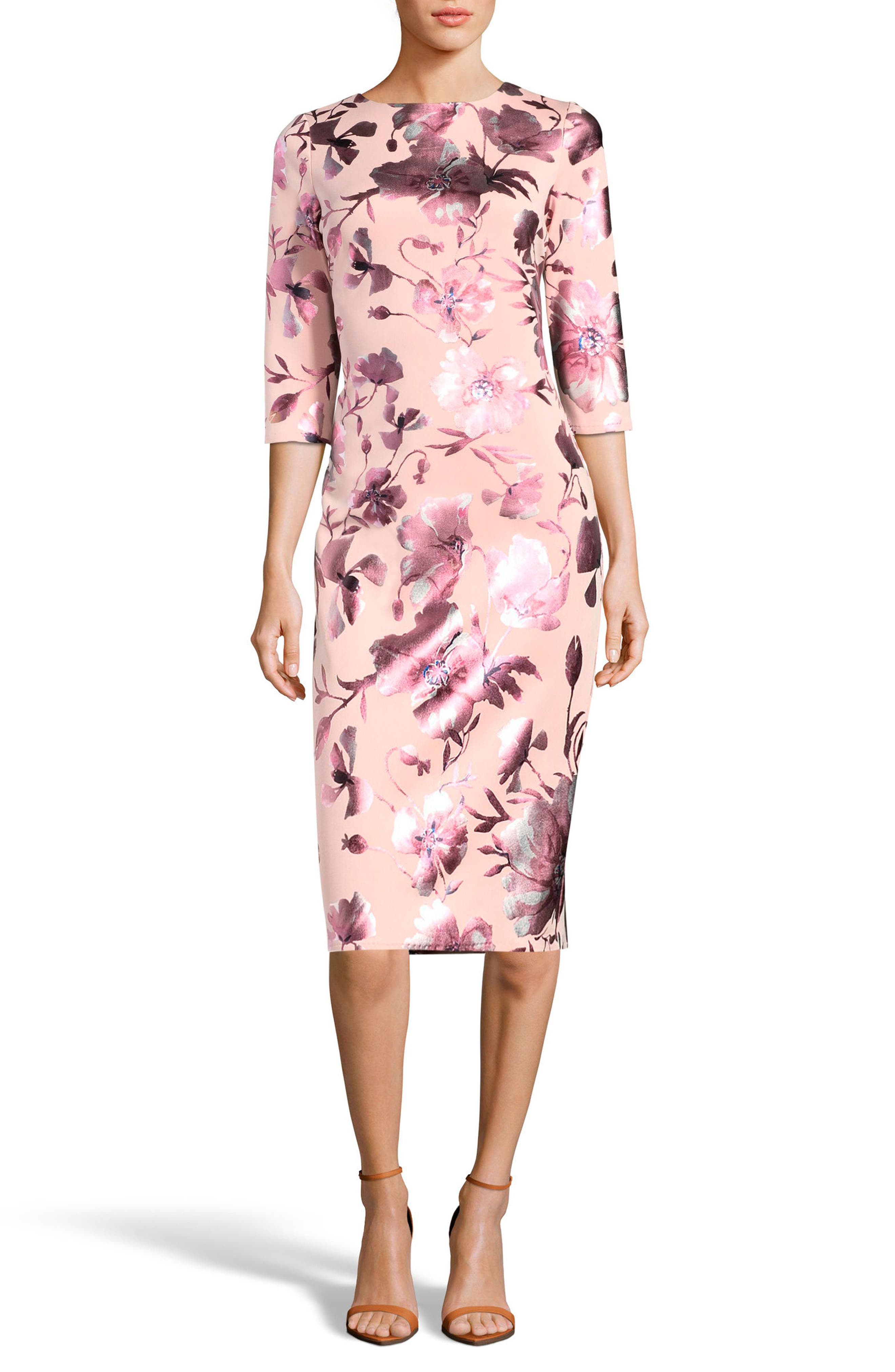 Floral Midi Dress,                         Main,                         color, Pink