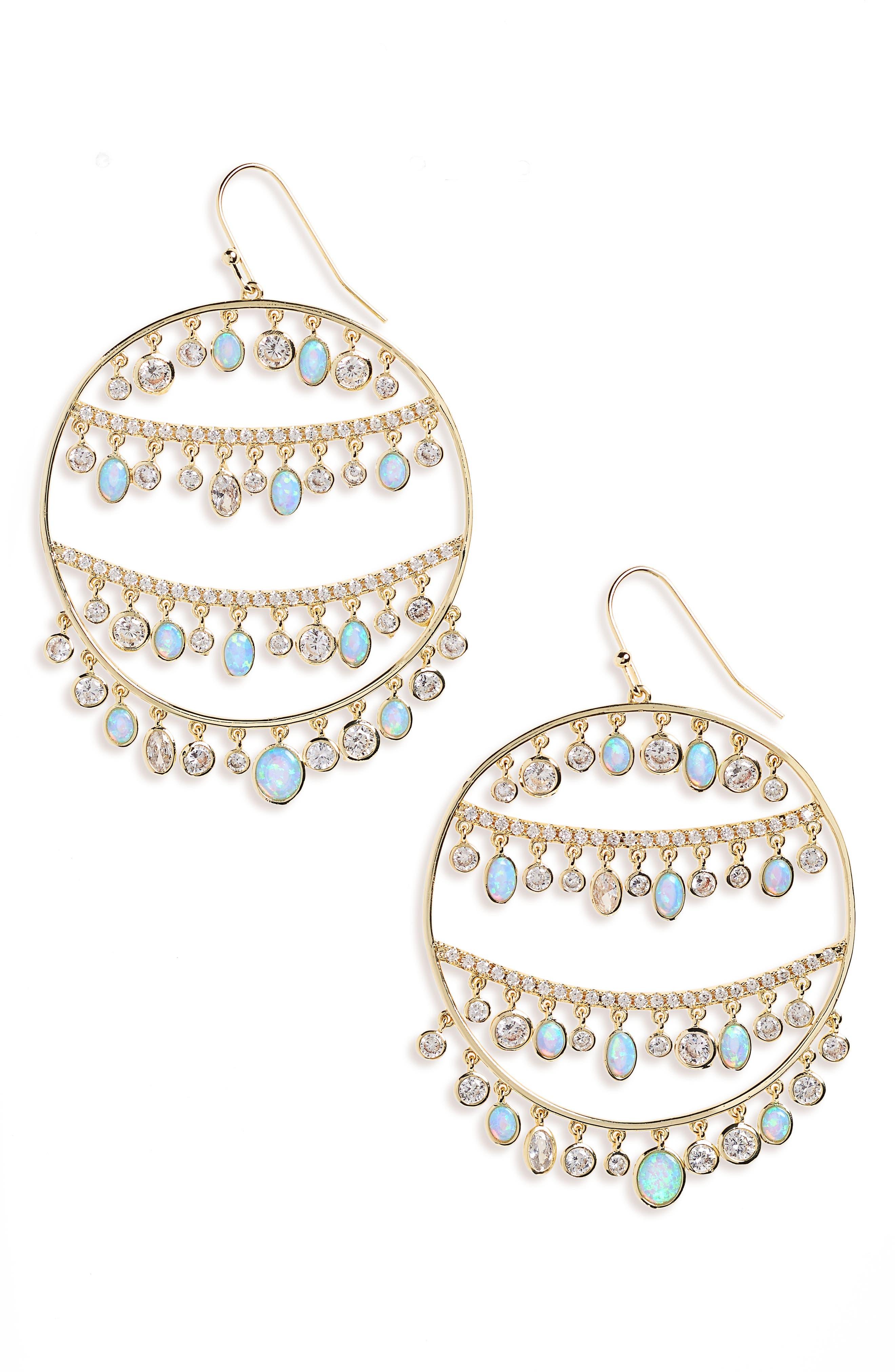 Fox Opal & Crystal Drop Earrings,                             Main thumbnail 1, color,                             Opal/ Crystal