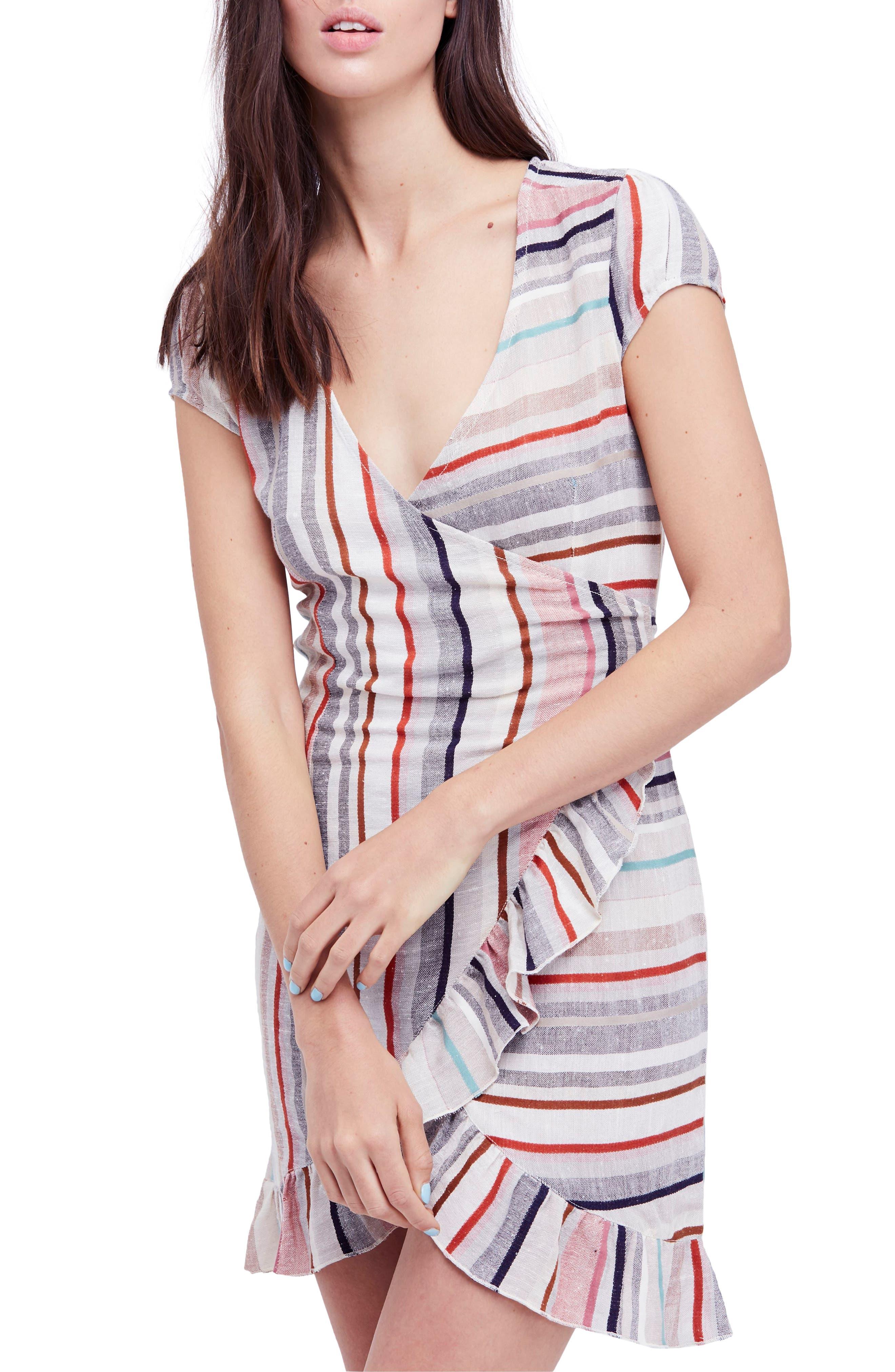 Wrap It Up Stripe Wrap Dress,                             Main thumbnail 1, color,                             Assort
