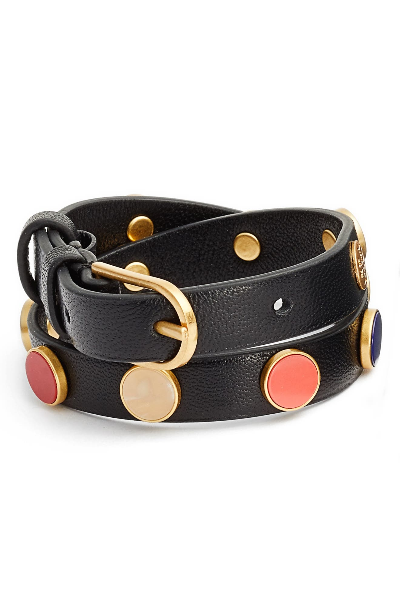 Leather Wrap Bracelet,                             Main thumbnail 1, color,                             Black/ Multi