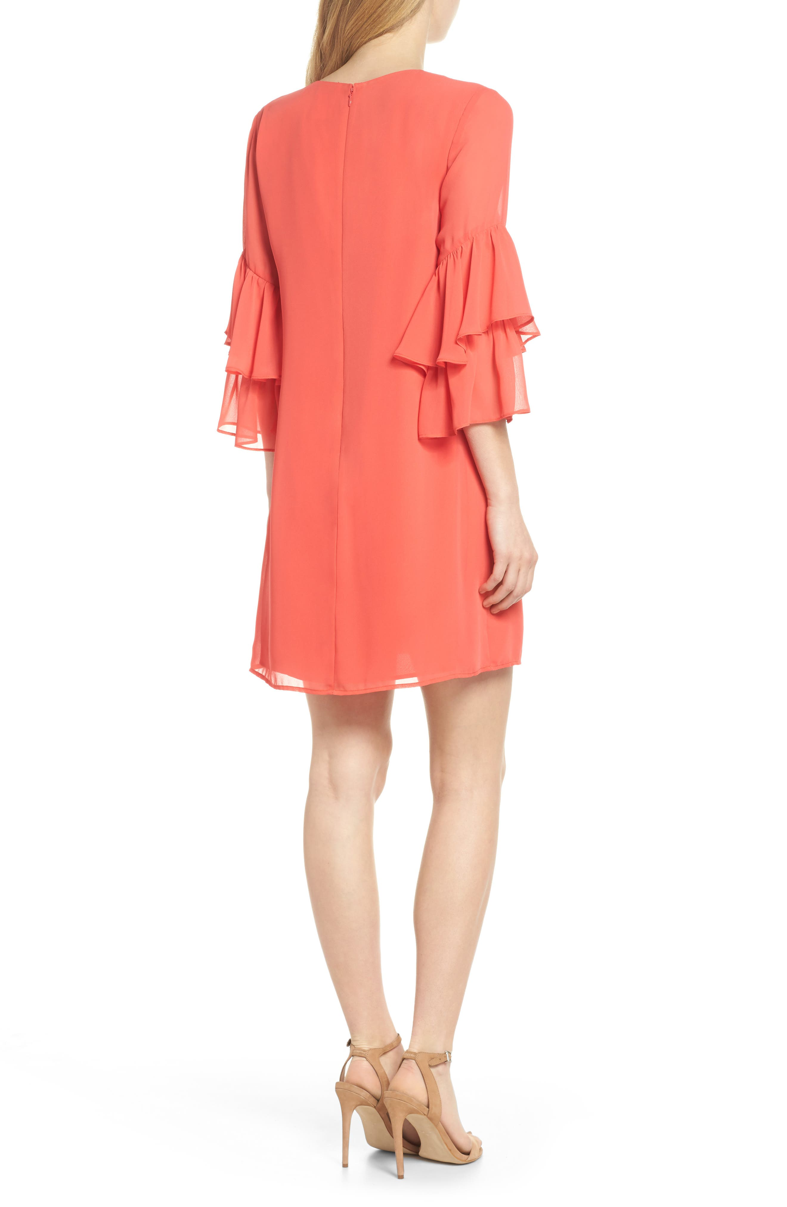 Carmen Tiered Ruffle Sleeve Shift Dress,                             Alternate thumbnail 2, color,                             Coral Crush