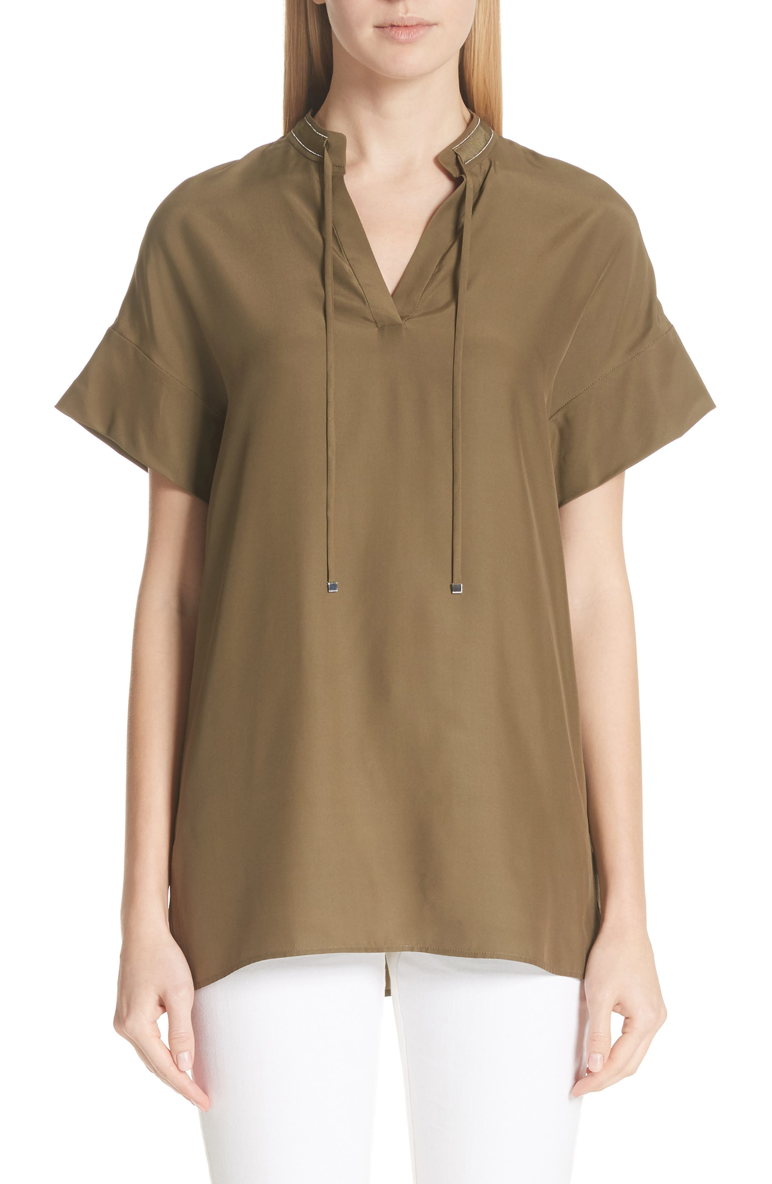 Kaitlyn Chain Detail Matte Silk Blouse,                         Main,                         color, Lily Pad