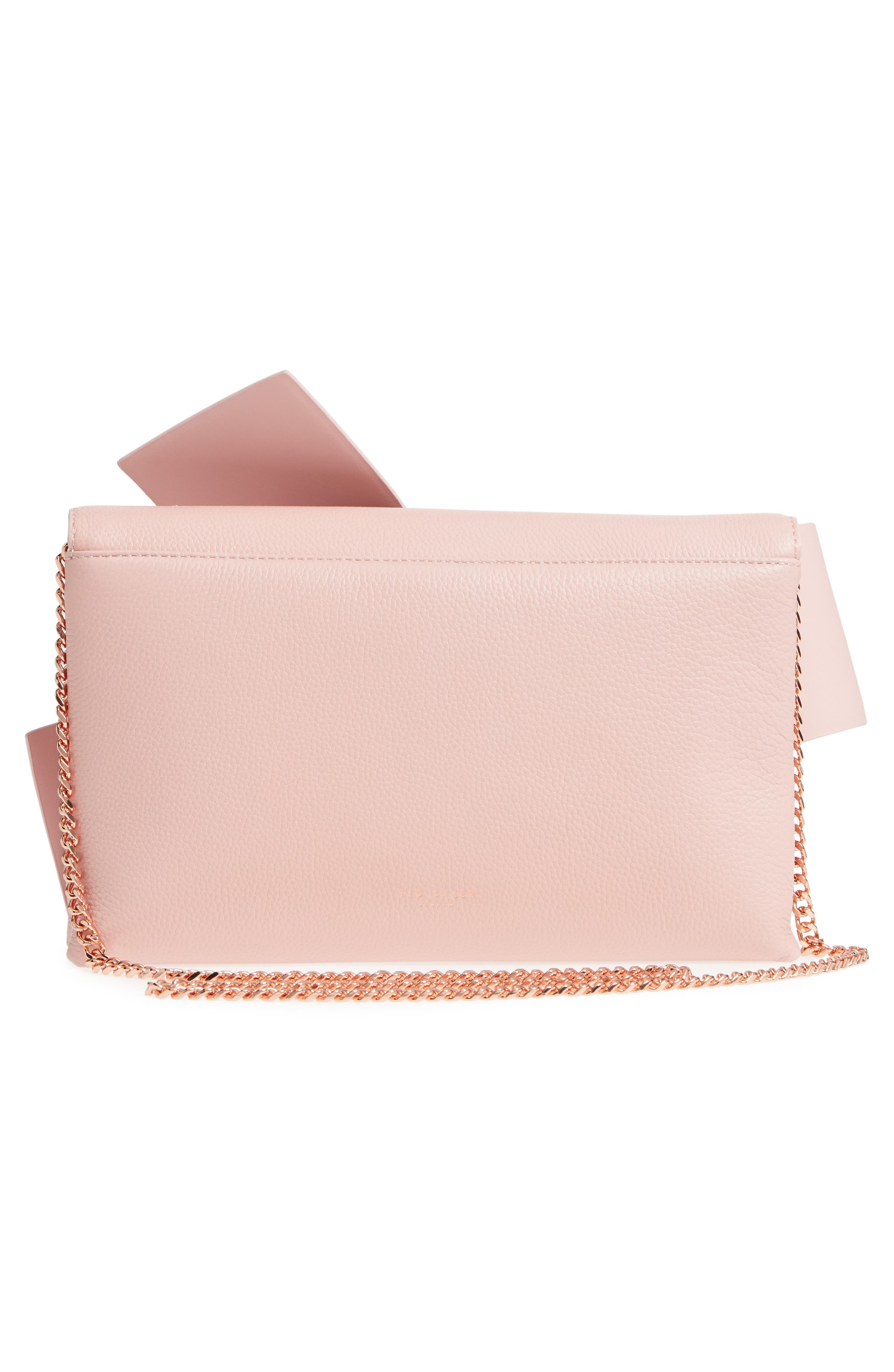 Knotted Bow Leather Clutch,                             Alternate thumbnail 3, color,                             Light Pink