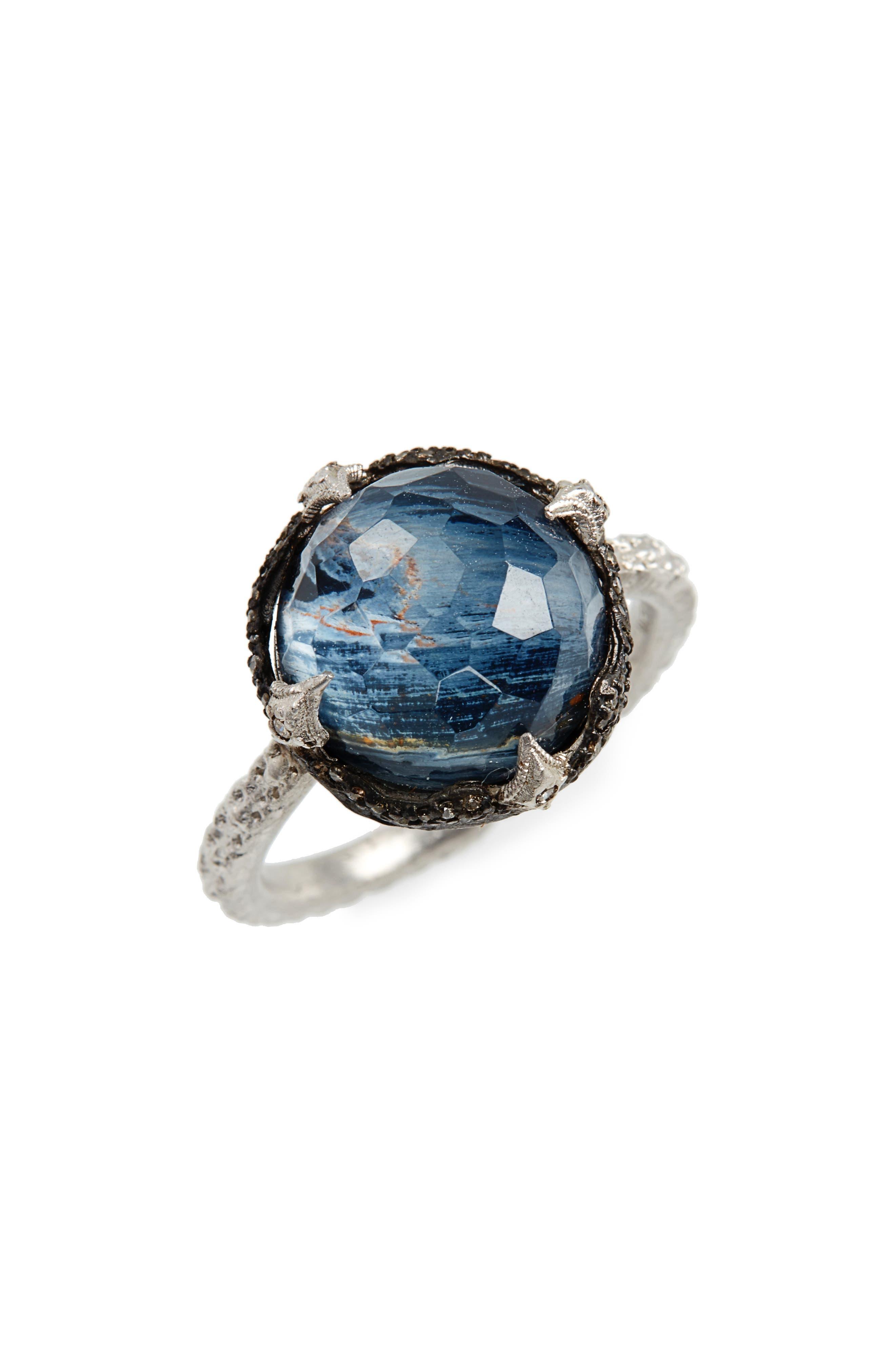 New World Semiprecious Stone & Diamond Scalloped Ring,                         Main,                         color, Silver