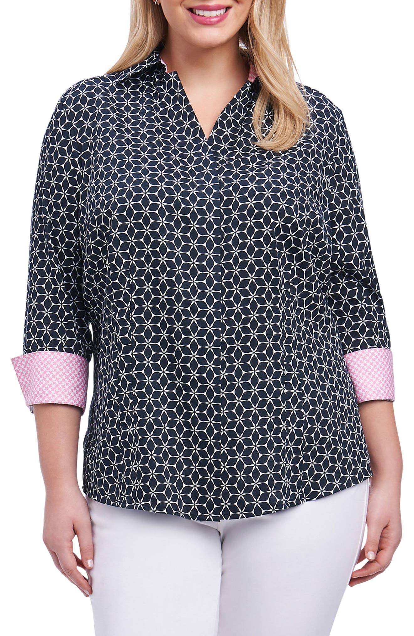 Alternate Image 1 Selected - Foxcroft Taylor Optic Floral Print Shirt (Plus Size)