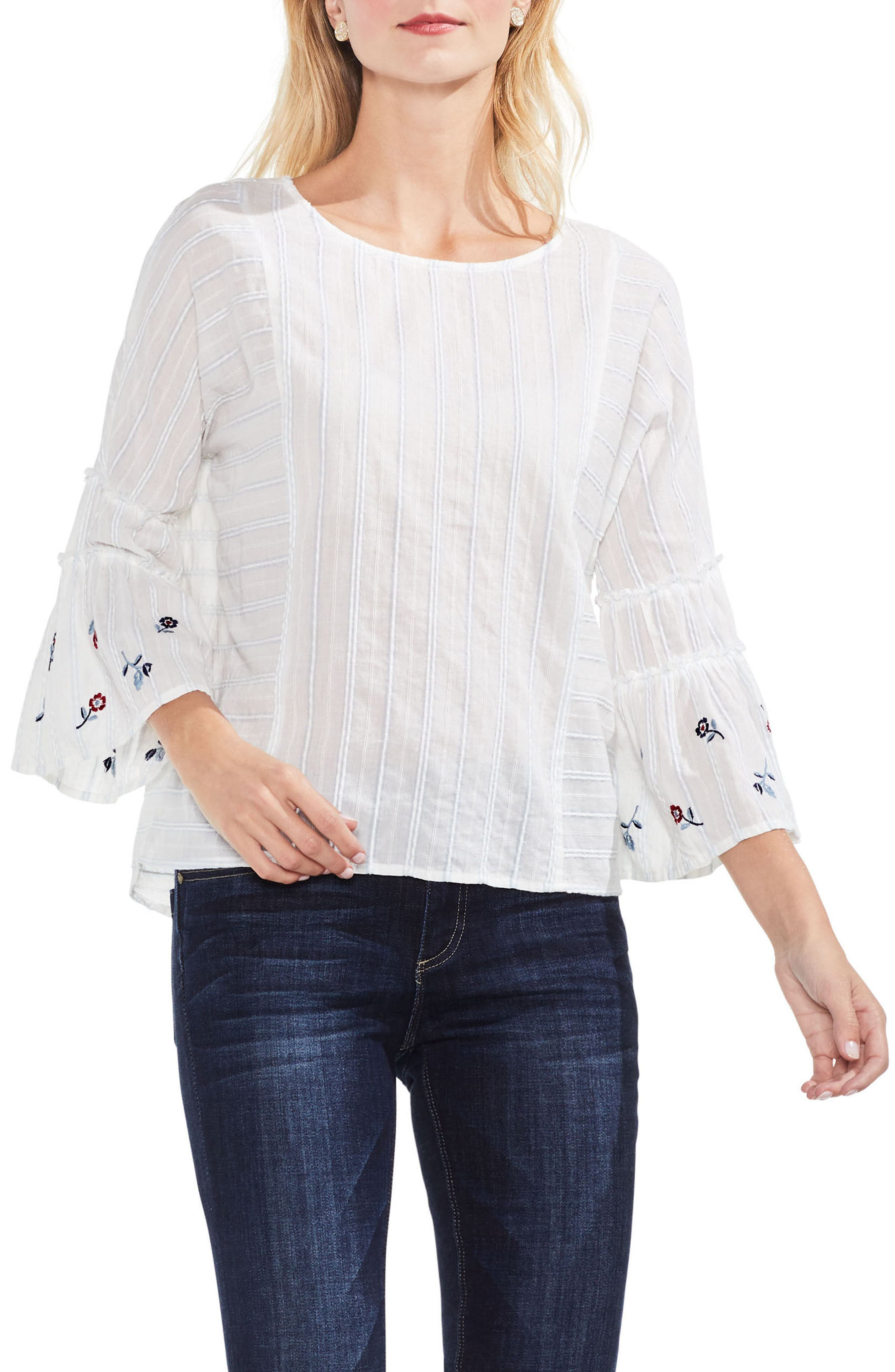 Ruffle Bell Sleeve Stripe Embroidered Blouse,                         Main,                         color, Still Water