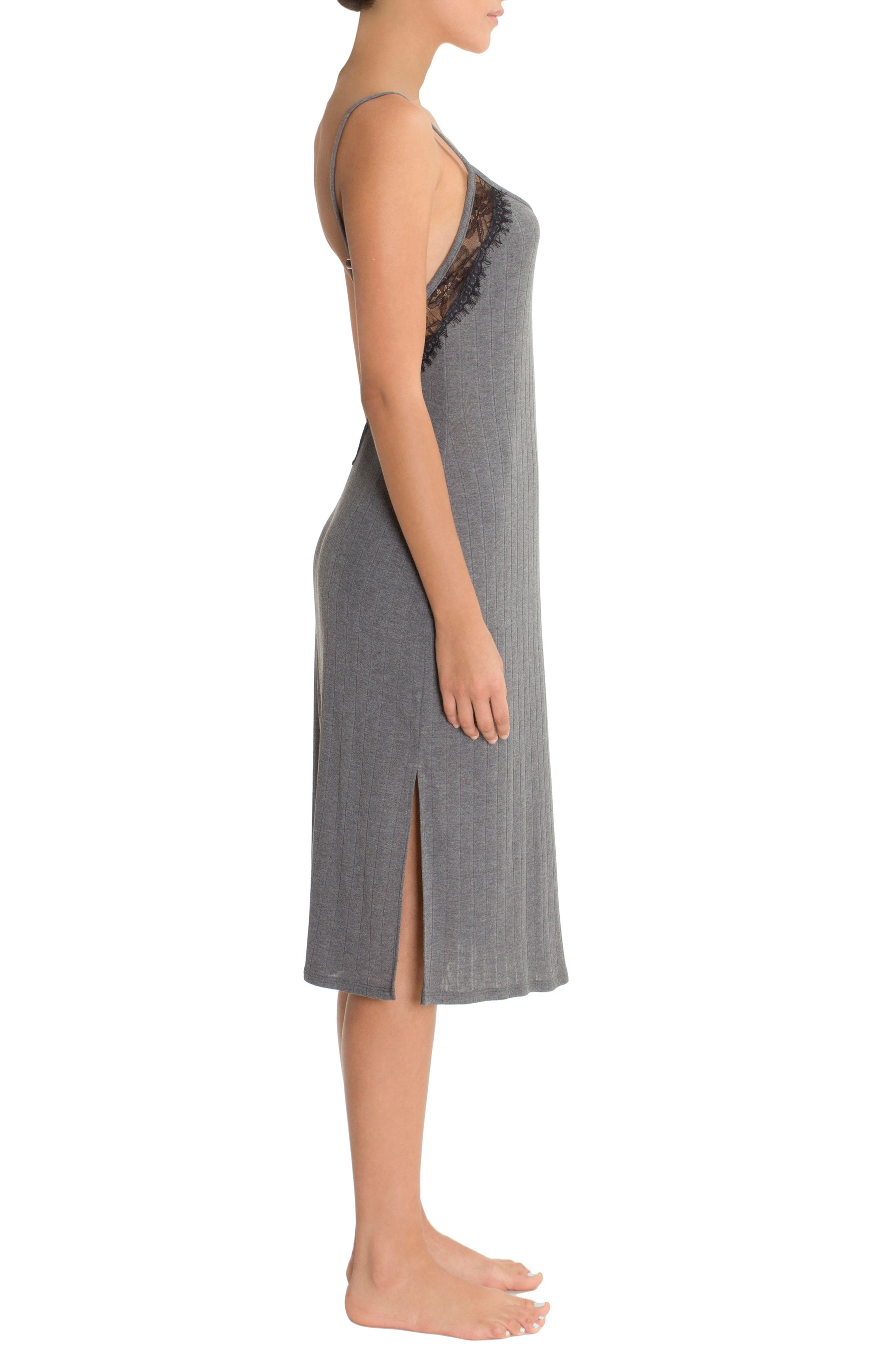 Ribbed Midi Nightgown,                             Alternate thumbnail 3, color,                             Charcoal