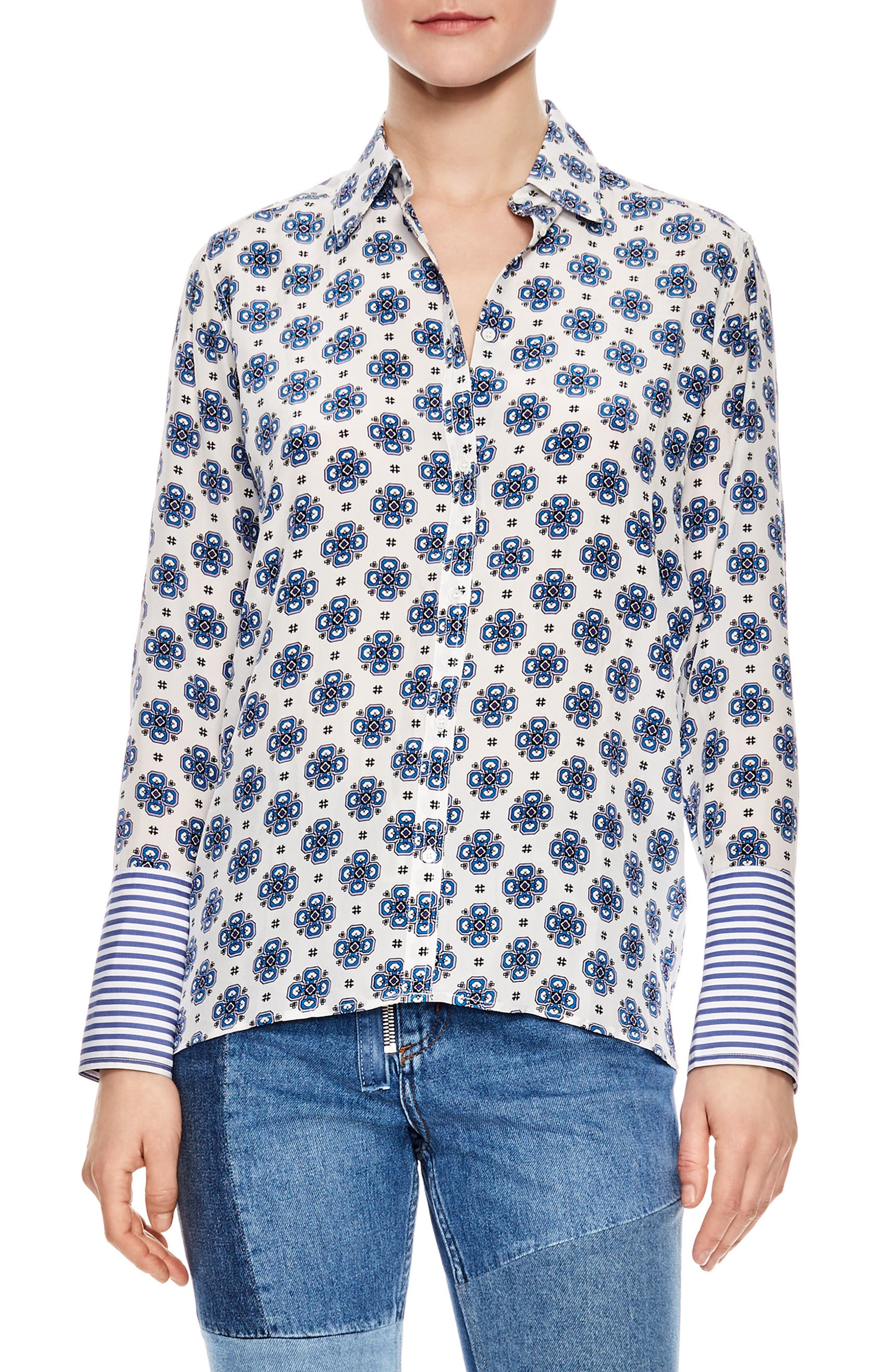 Print Silk Shirt,                         Main,                         color, White
