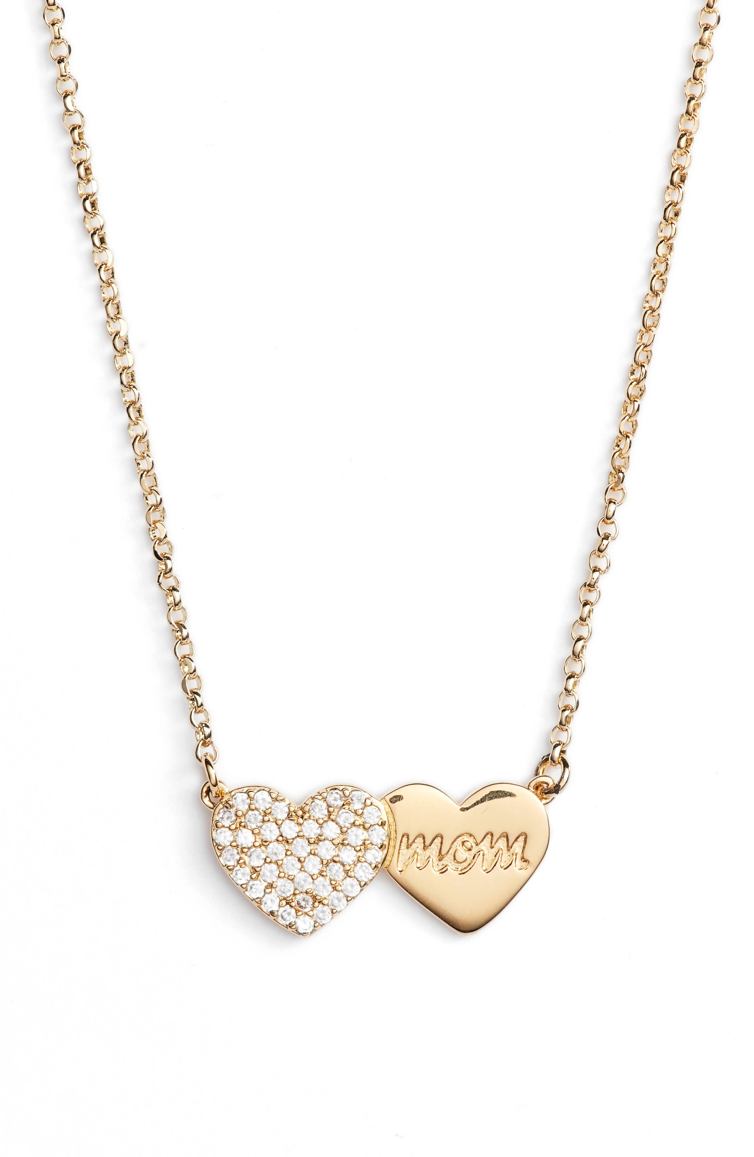 mom knows best pavé heart necklace,                             Main thumbnail 1, color,                             Gold