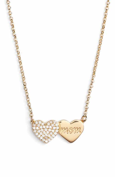 kate spade new york mom knows best pavé heart necklace