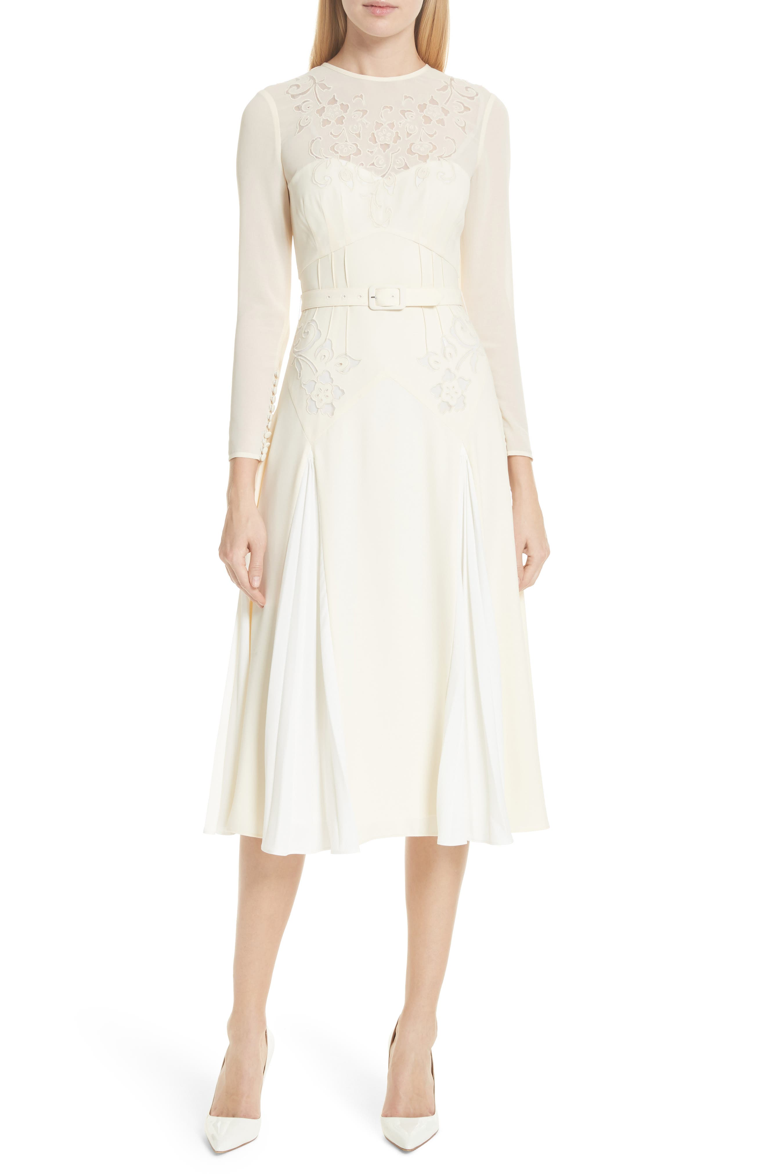 Embroidered Belted Midi Dress,                             Main thumbnail 1, color,                             Ivory