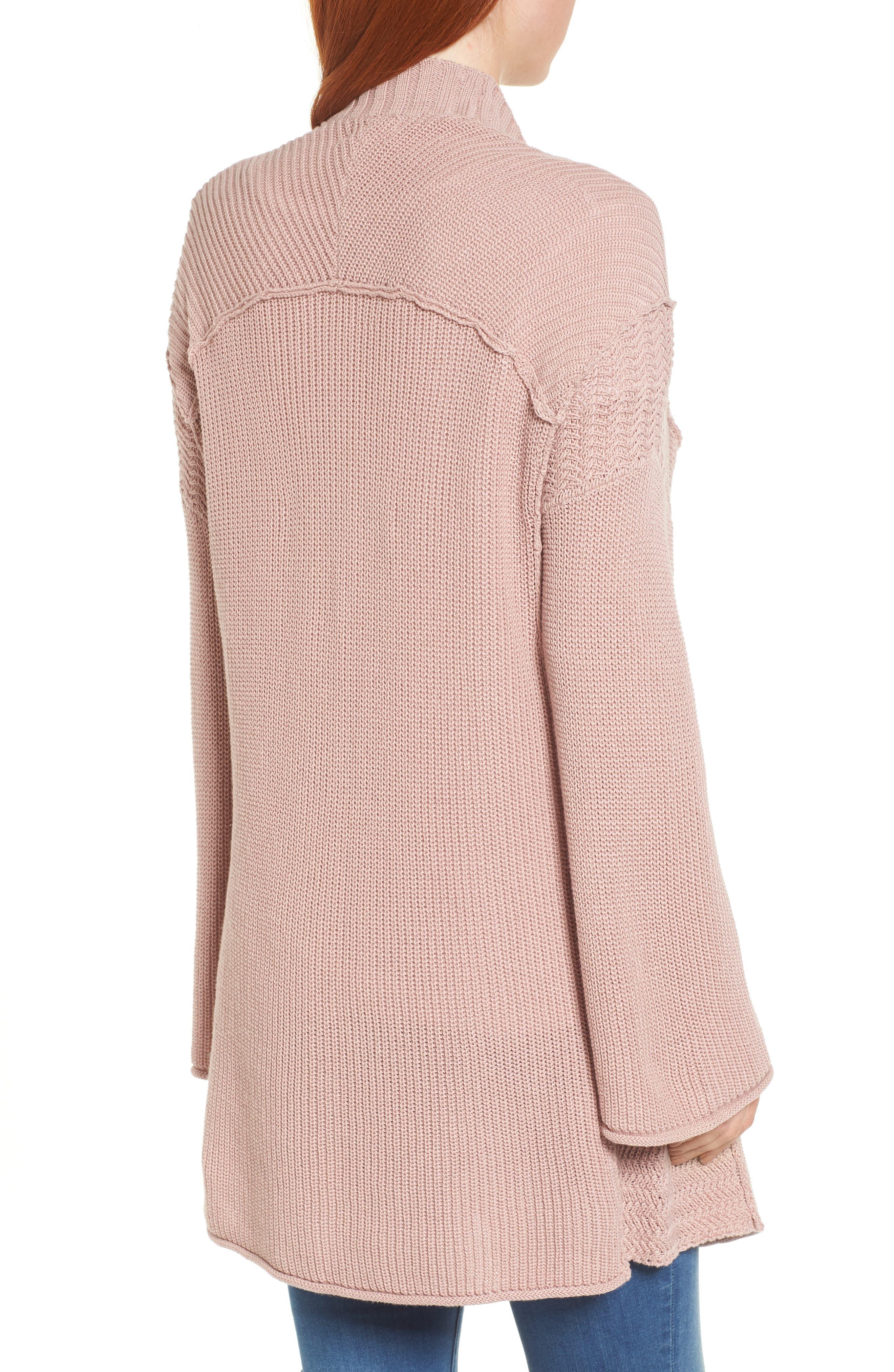 Open Cotton Cardigan,                             Alternate thumbnail 2, color,                             Pink Adobe