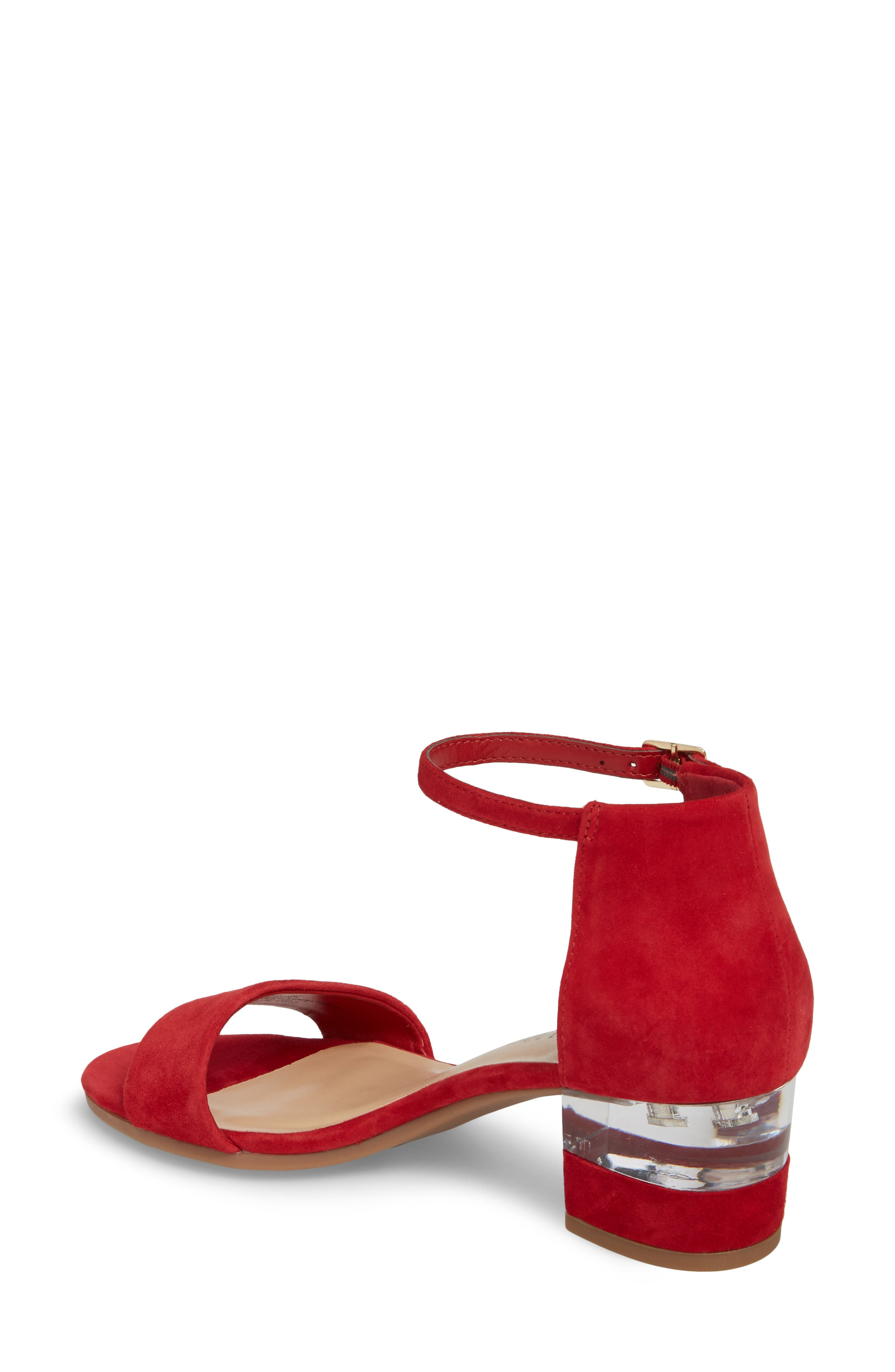 Fitz Block Heel Sandal,                             Alternate thumbnail 2, color,                             Red Suede