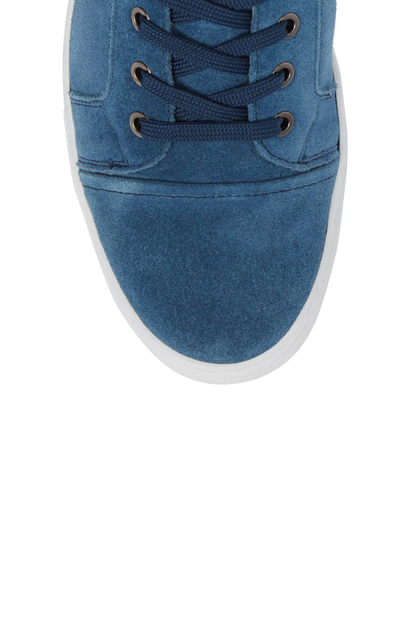 Double Header Sneaker,                             Alternate thumbnail 5, color,                             Blue Suede