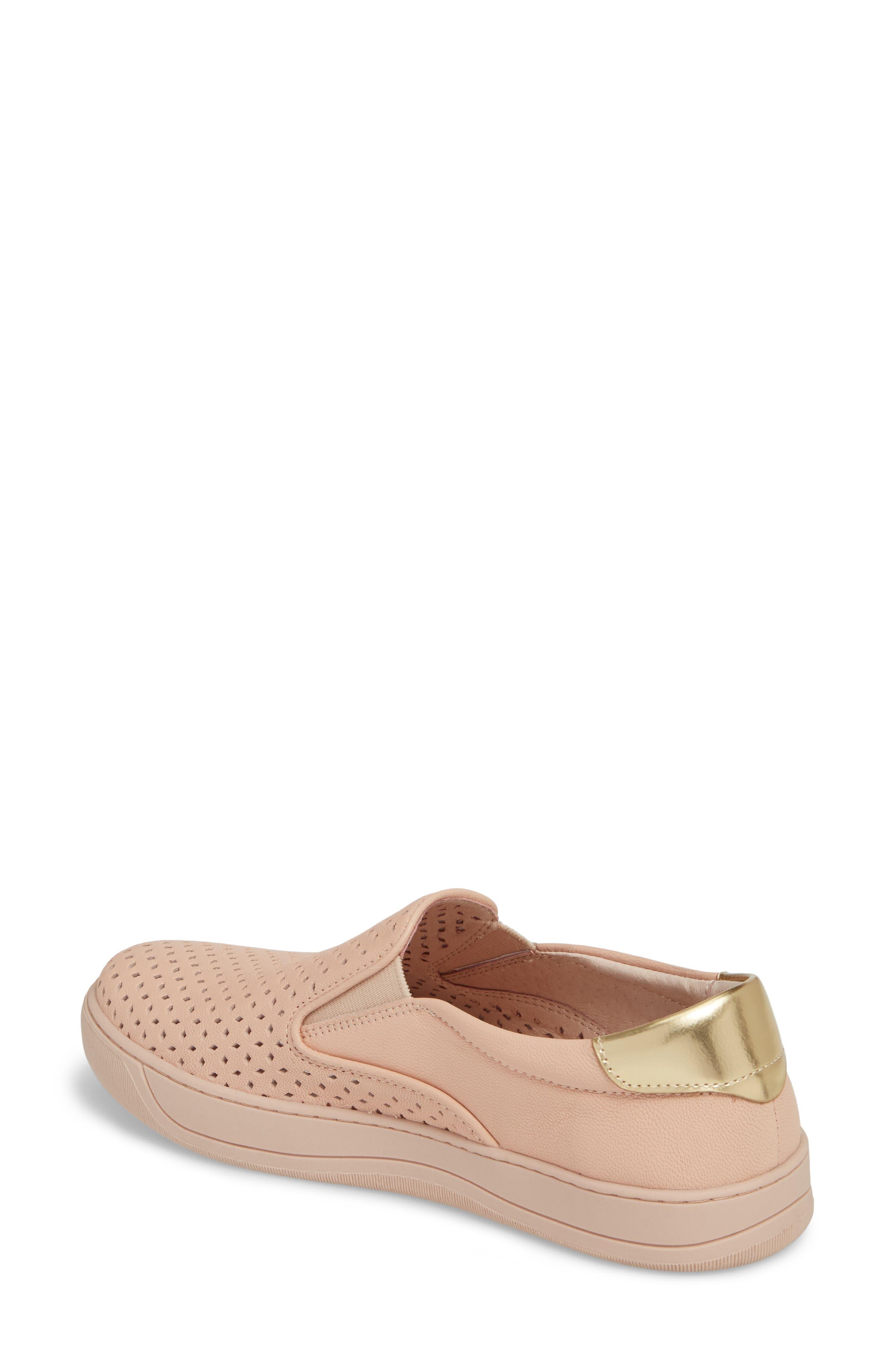 Elaine Slip-On Sneaker,                             Alternate thumbnail 2, color,                             Pink Leather