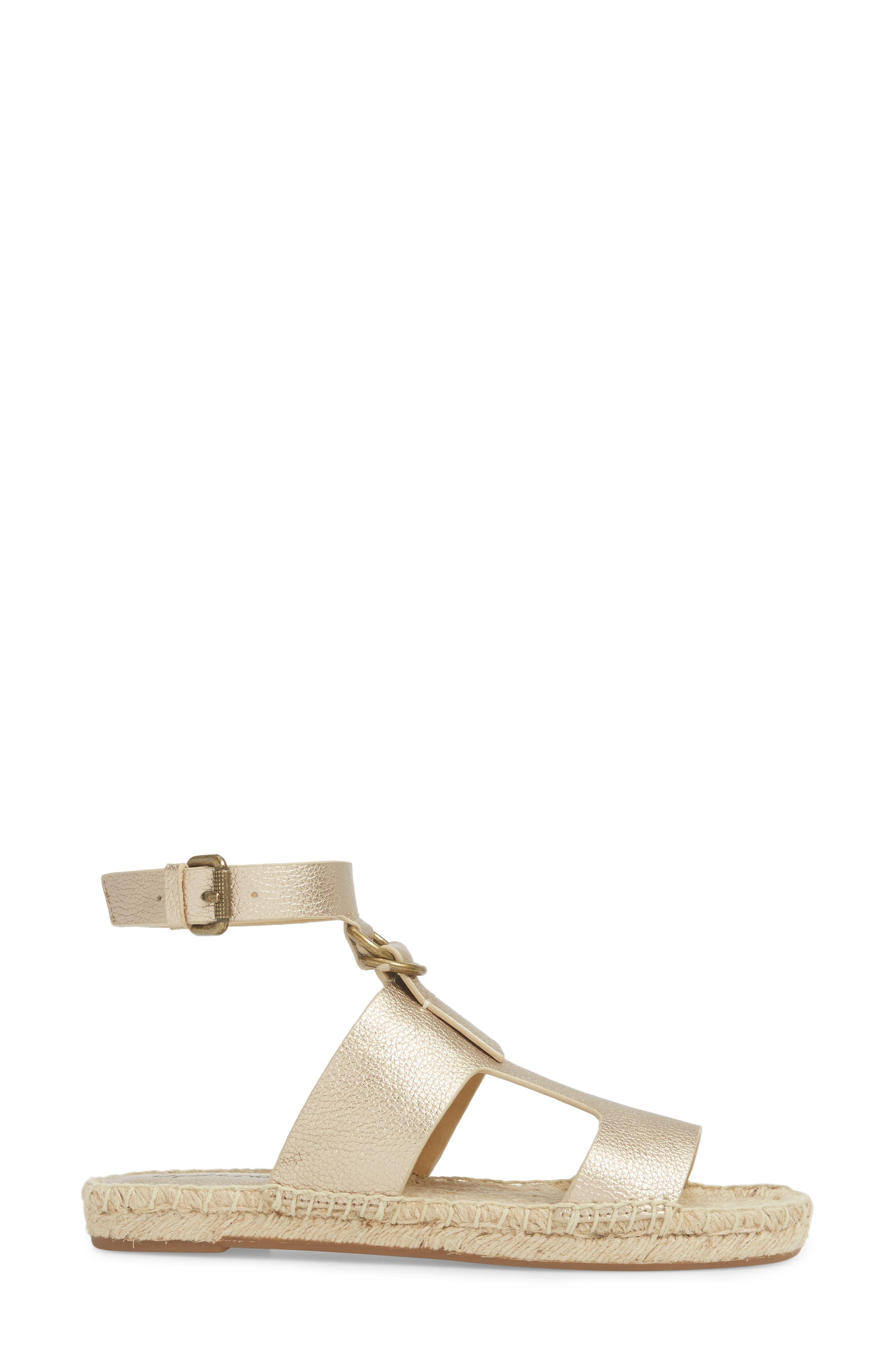 Farley Espadrille Sandal,                             Alternate thumbnail 3, color,                             Champagne Leather