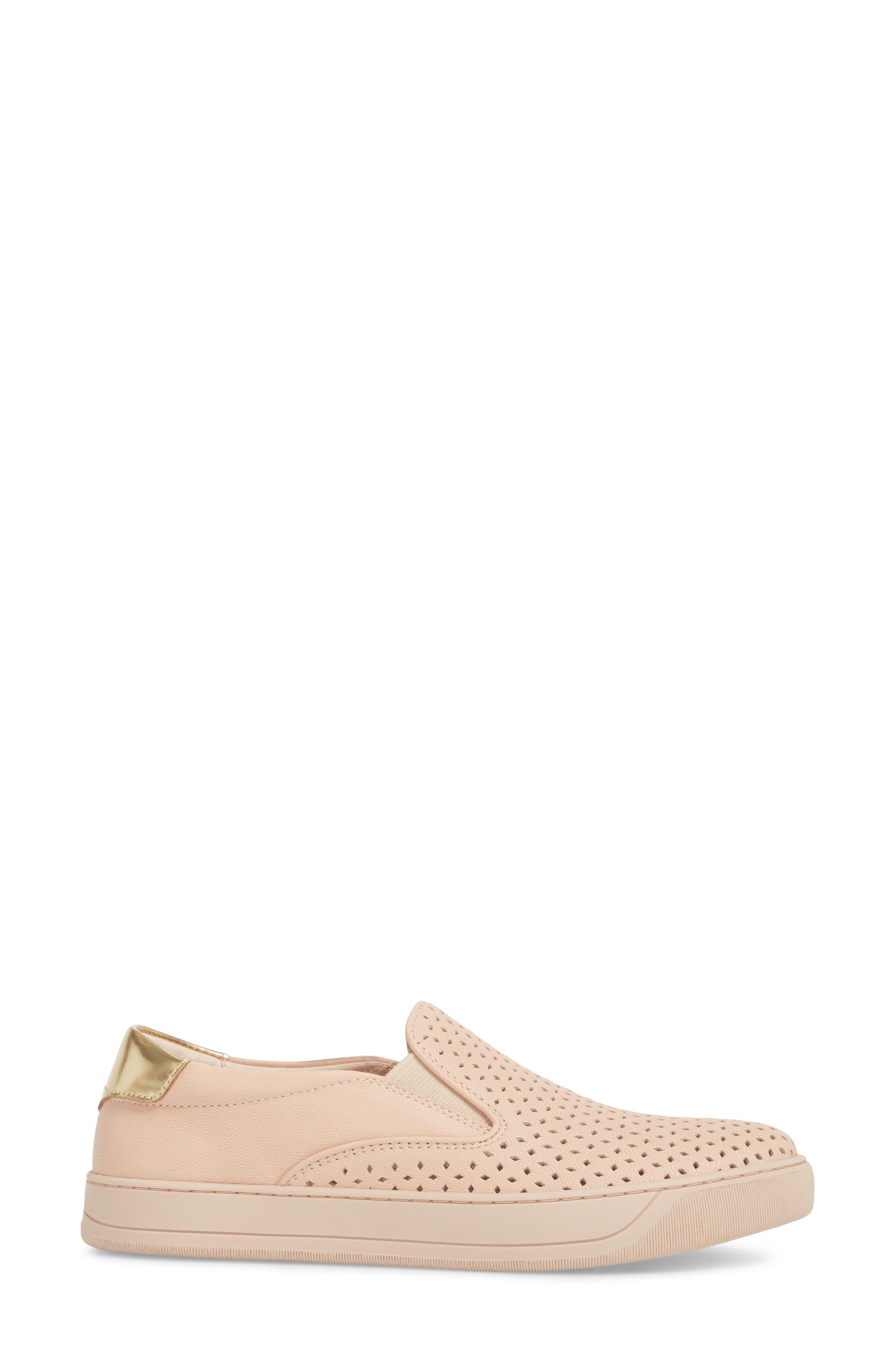 Elaine Slip-On Sneaker,                             Alternate thumbnail 3, color,                             Pink Leather