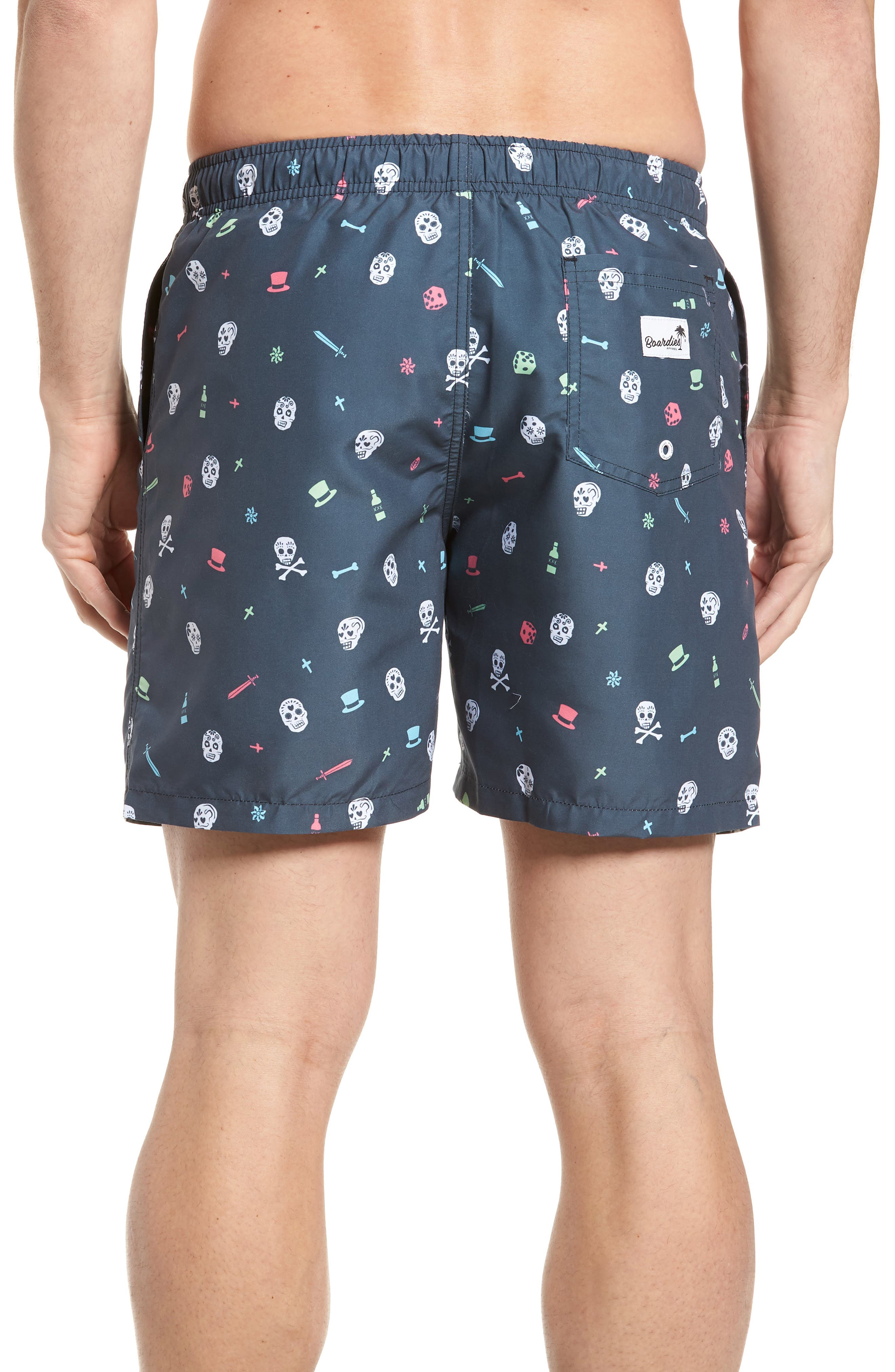 Day of the Dead Print Swim Shorts,                             Alternate thumbnail 2, color,                             Charcoal