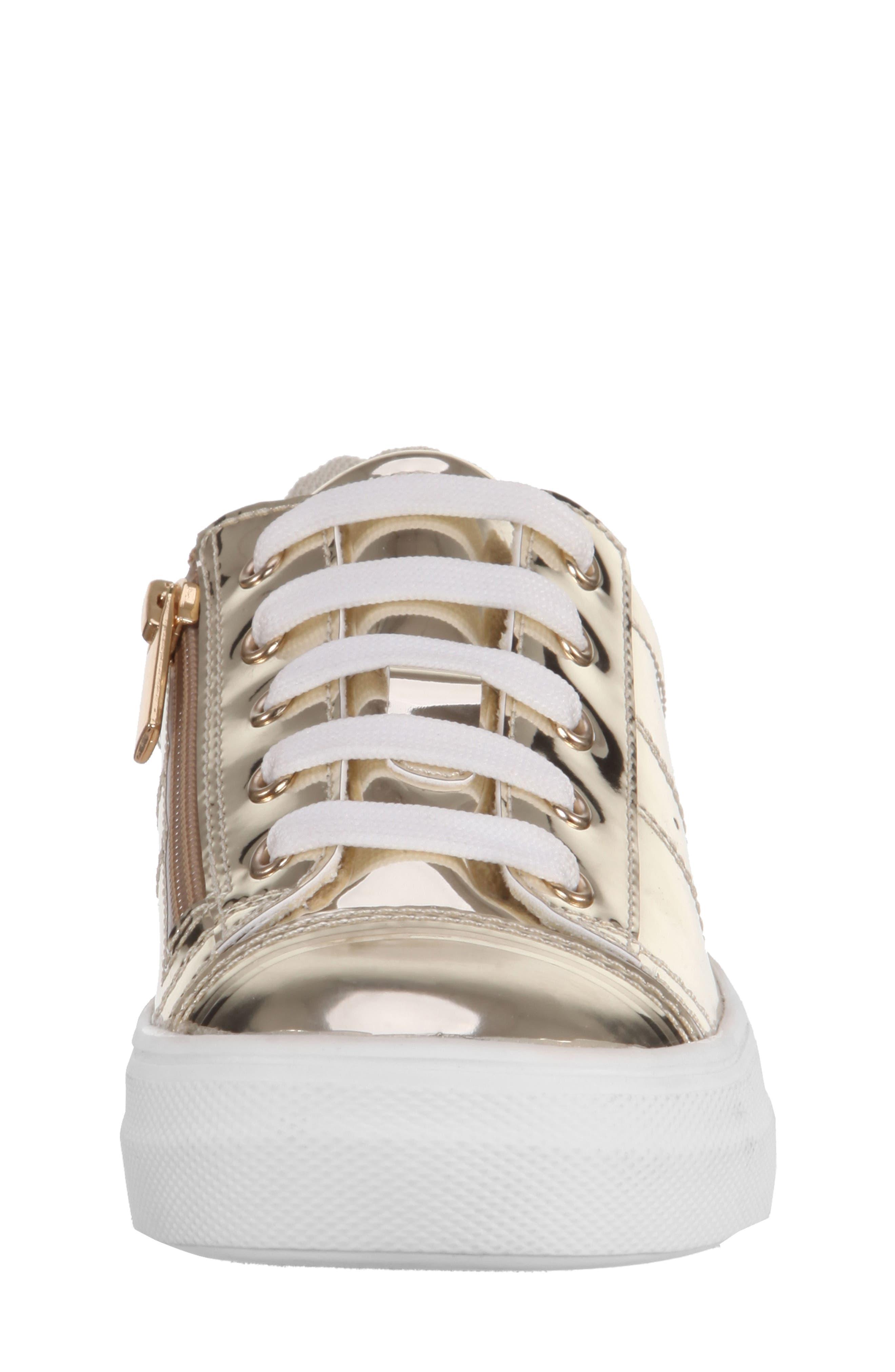 Rochella Metallic Sneaker,                             Alternate thumbnail 4, color,                             Platino Mirror Metallic