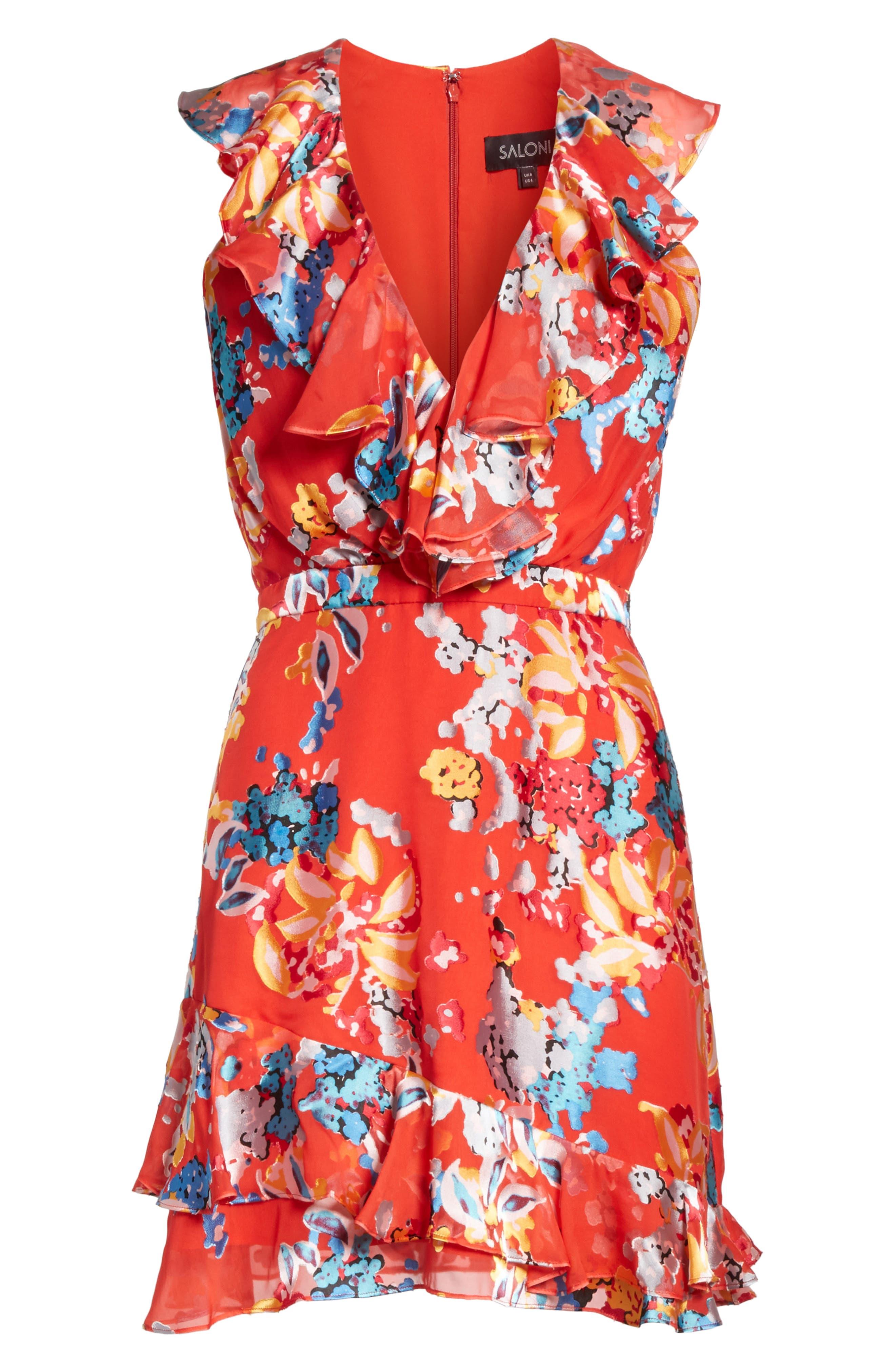 Cece Floral Print Ruffle Trim Dress,                             Alternate thumbnail 6, color,                             Coral Begonia