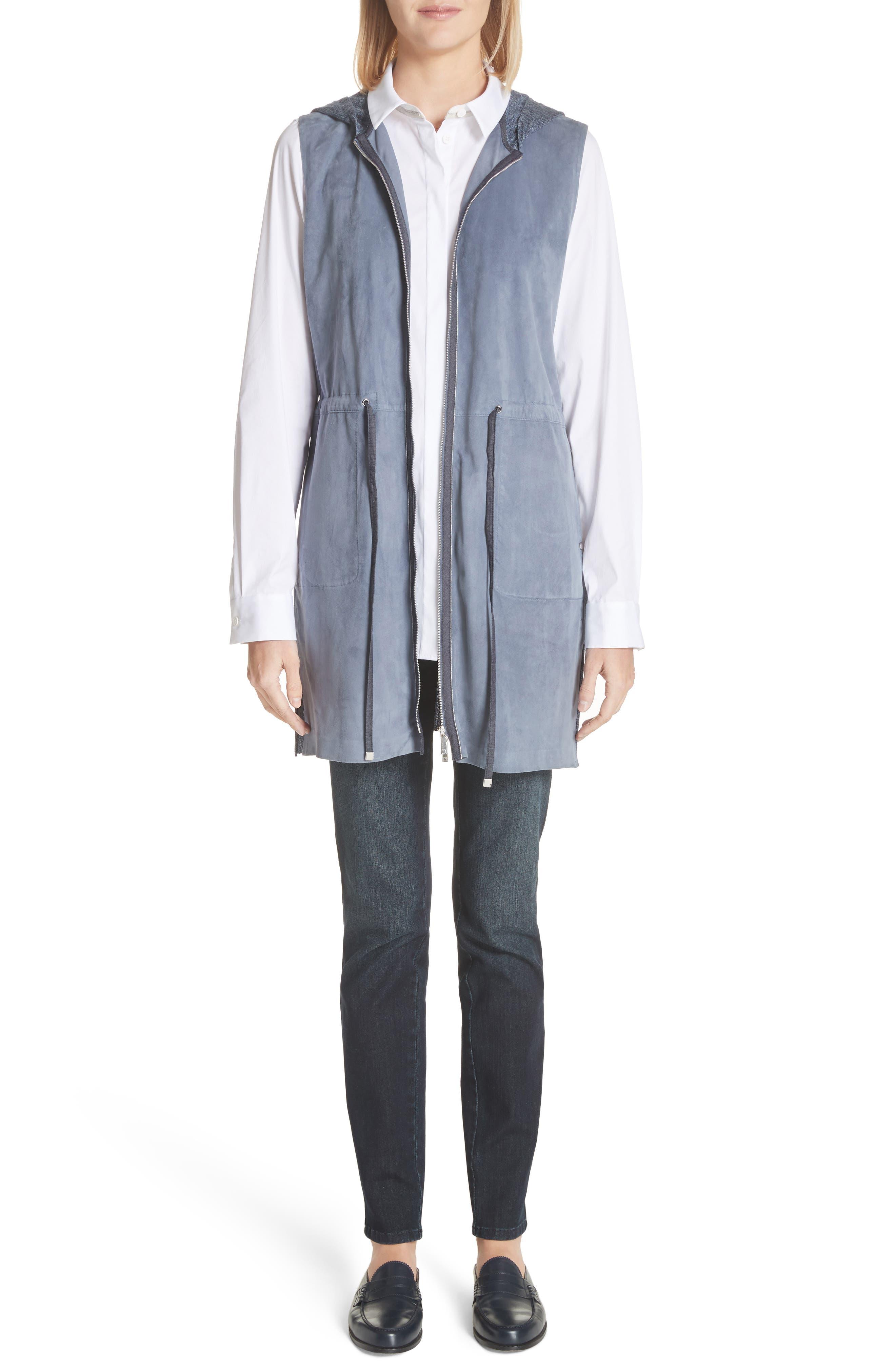 Salma Suede Front Longline Vest,                             Alternate thumbnail 8, color,                             Celestial Blue