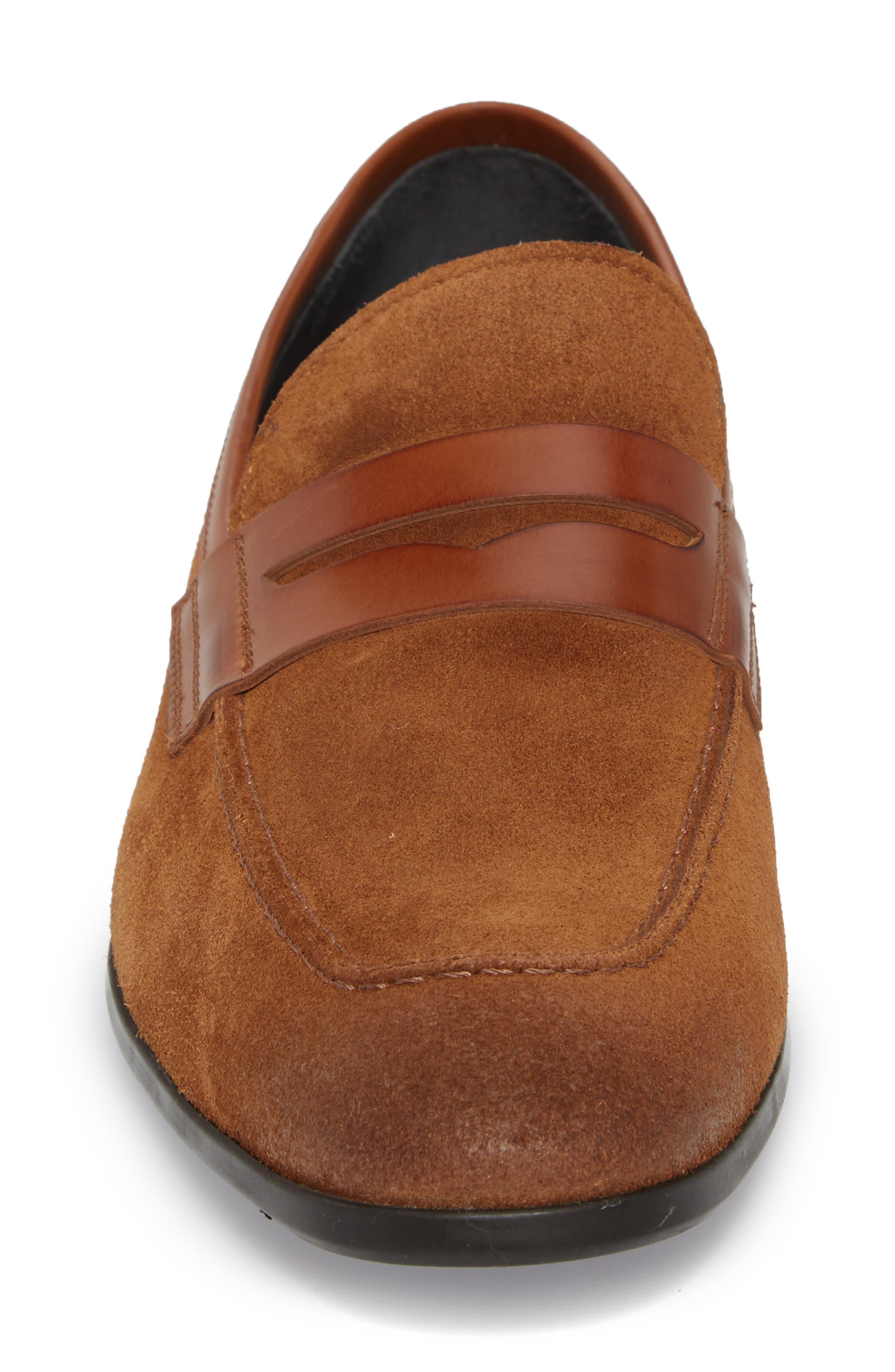 Powell Penny Loafer,                             Alternate thumbnail 4, color,                             Cognac/ Tan Suede