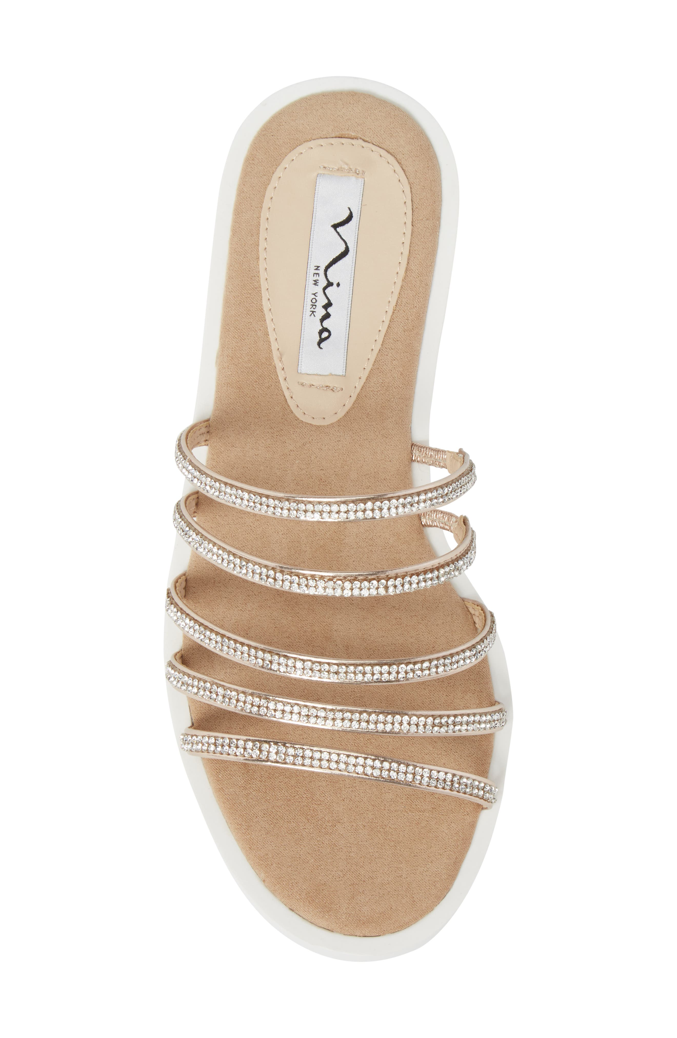 Sabrina Sandal,                             Alternate thumbnail 5, color,                             Rose Gold Fabric