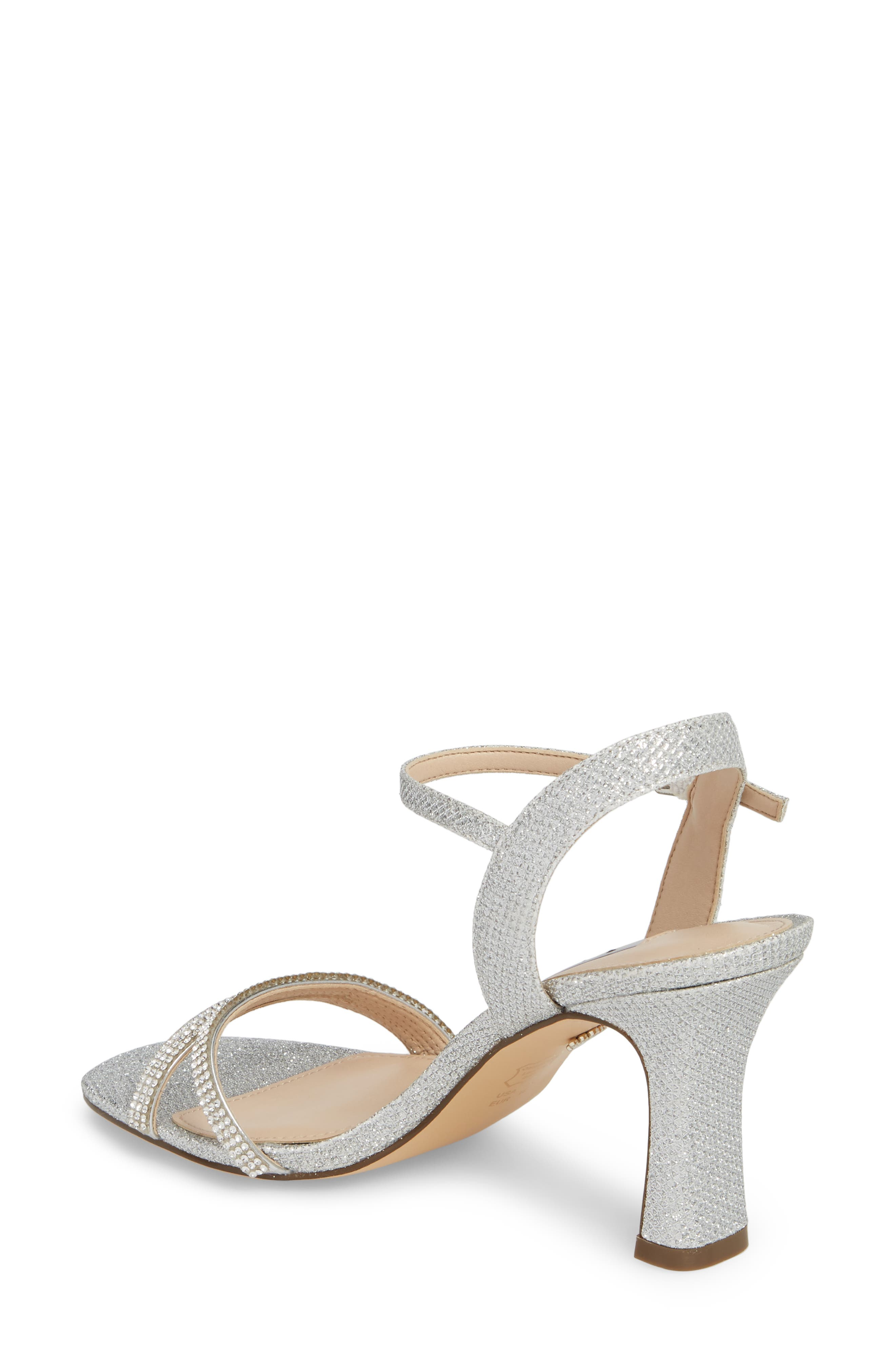 Avalon Ankle Strap Sandal,                             Alternate thumbnail 2, color,                             Silver Fabric