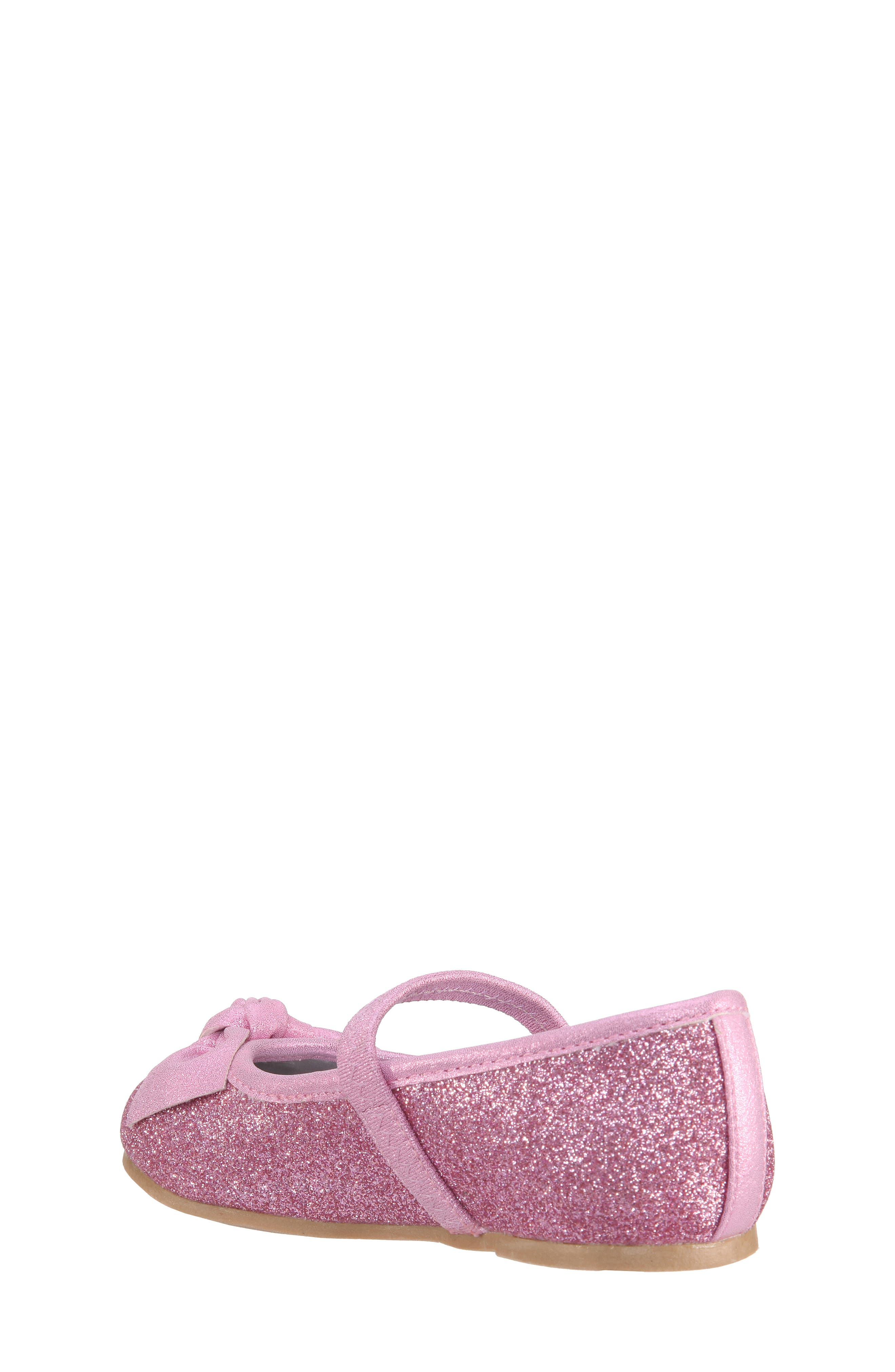 Larabeth-T Glitter Bow Ballet Flat,                             Alternate thumbnail 2, color,                             Light Pink Metallic/ Glitter