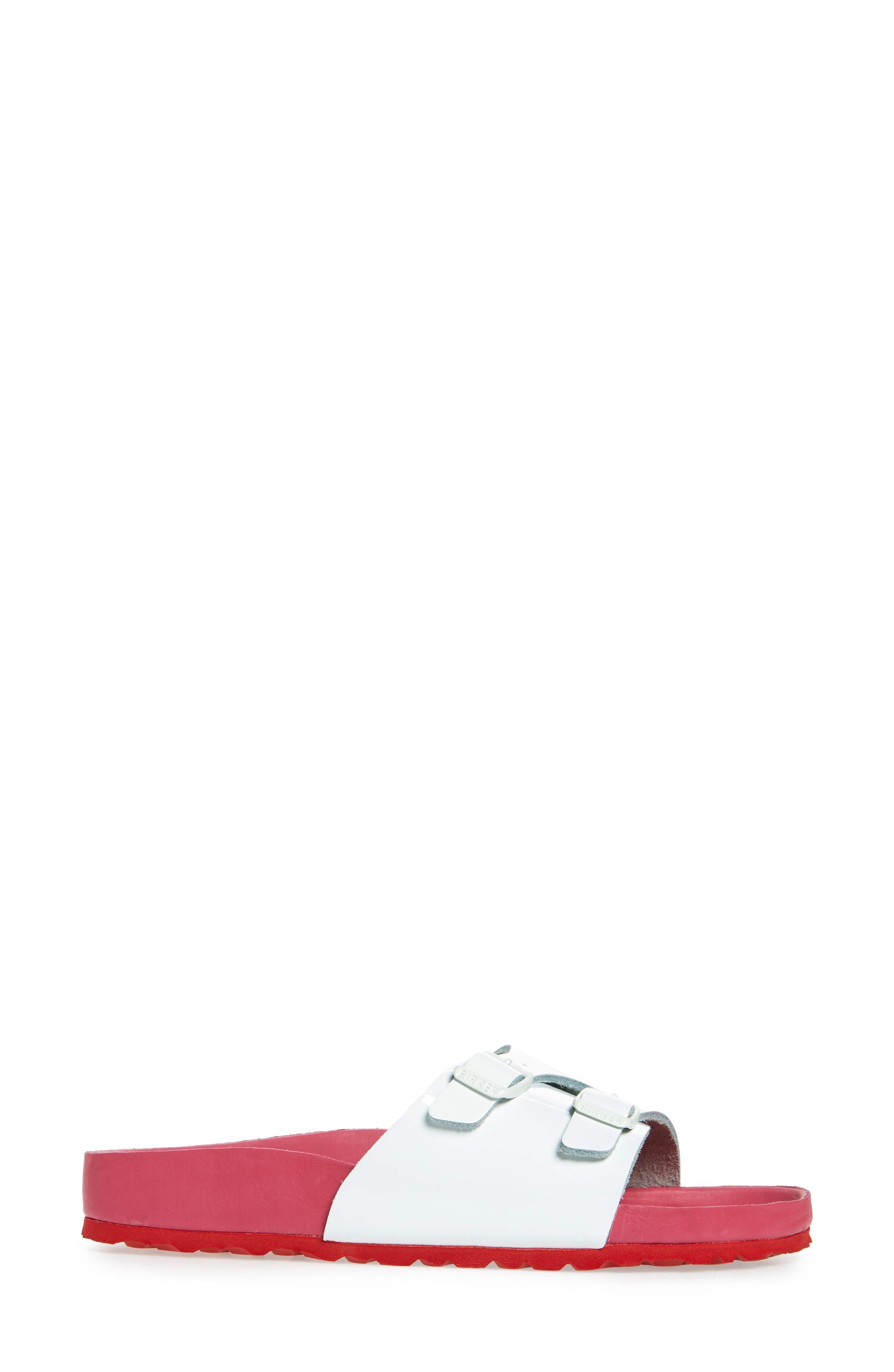 Vaduz Exquisite Limited Edition - Shock Drop Sandal,                             Alternate thumbnail 3, color,                             White Leather