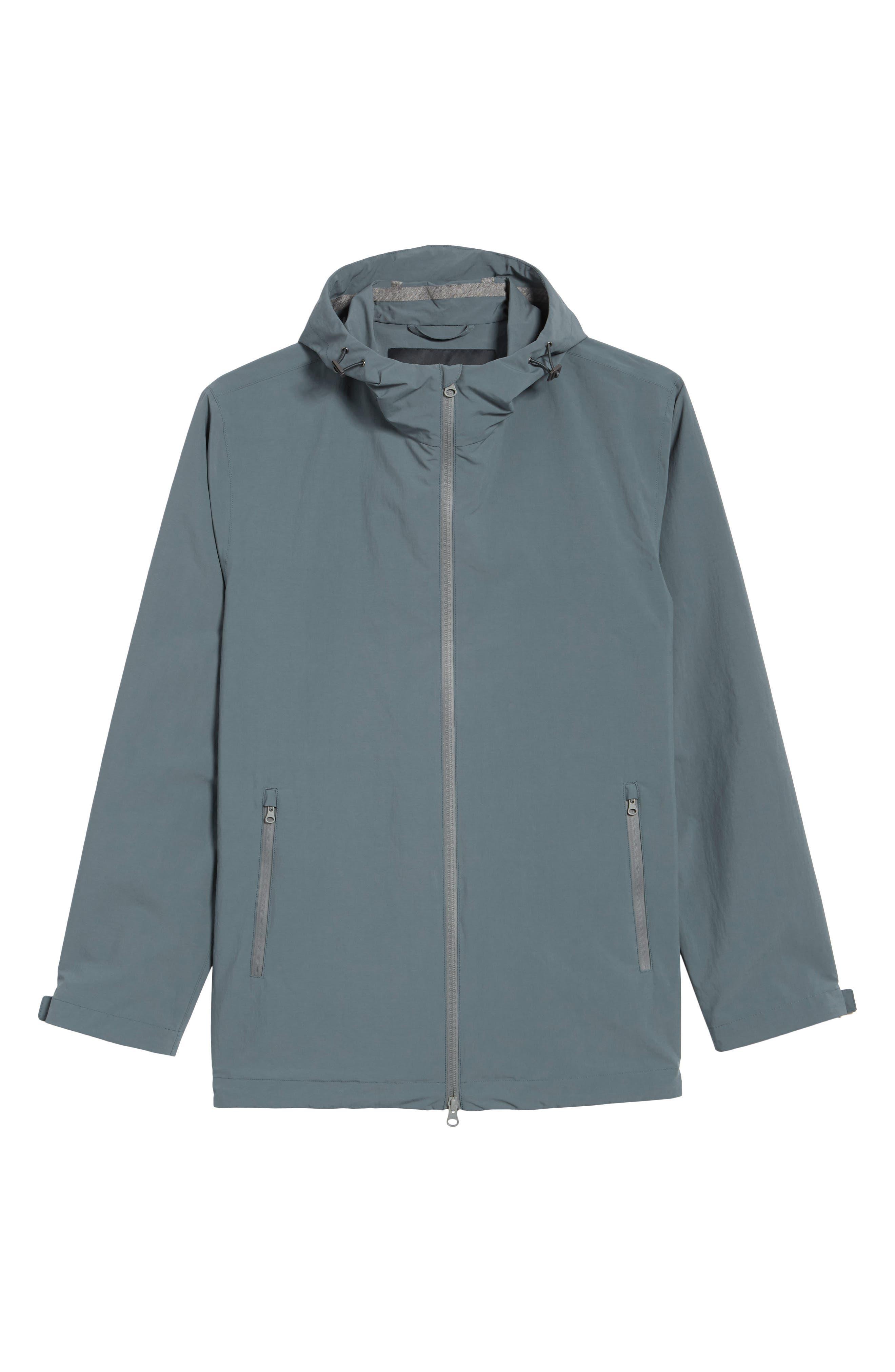 Plaster Hooded Raincoat,                             Alternate thumbnail 6, color,                             Blue/ Grey