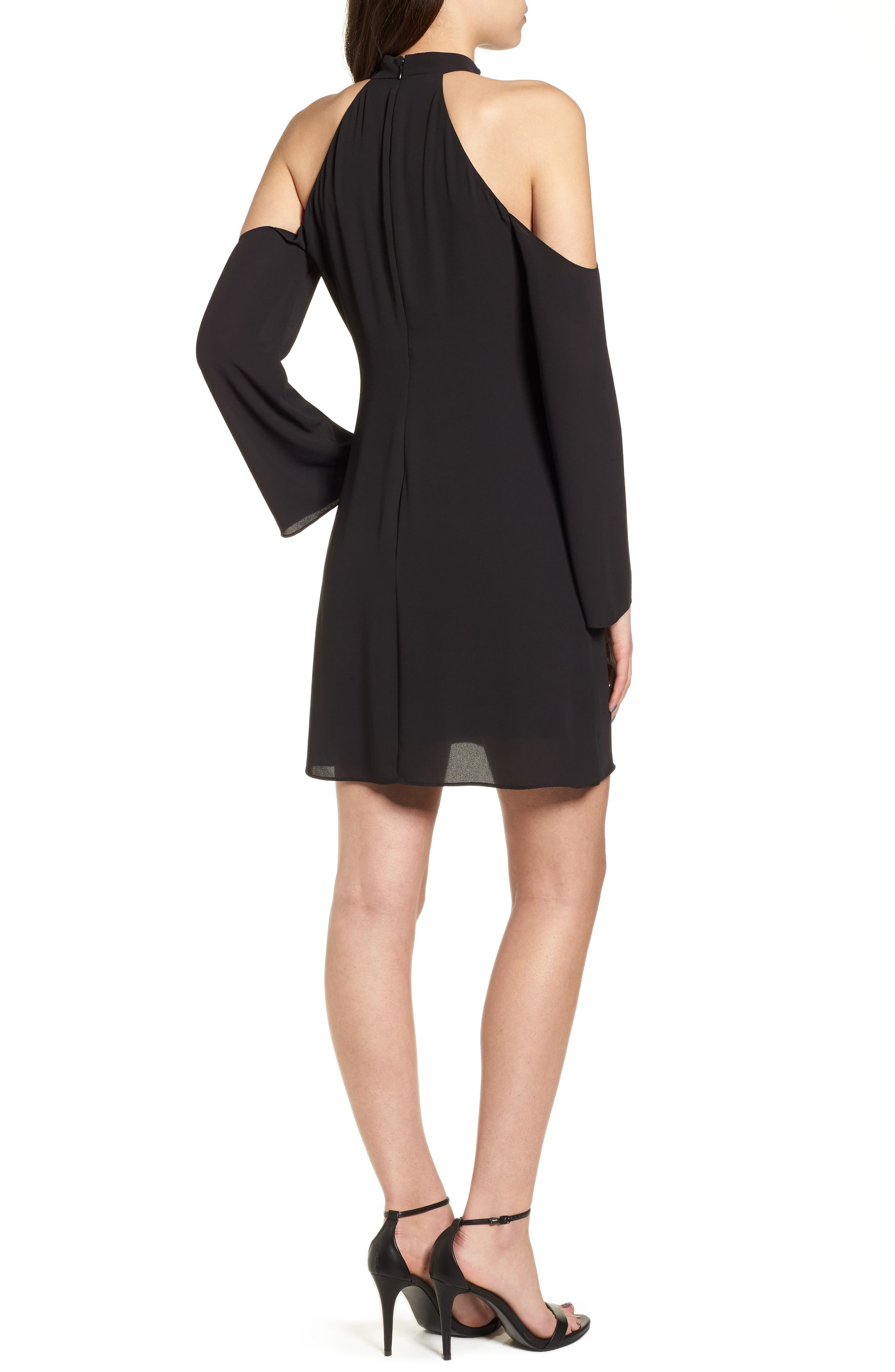 Daikon Cold Shoulder Dress,                             Alternate thumbnail 2, color,                             Black