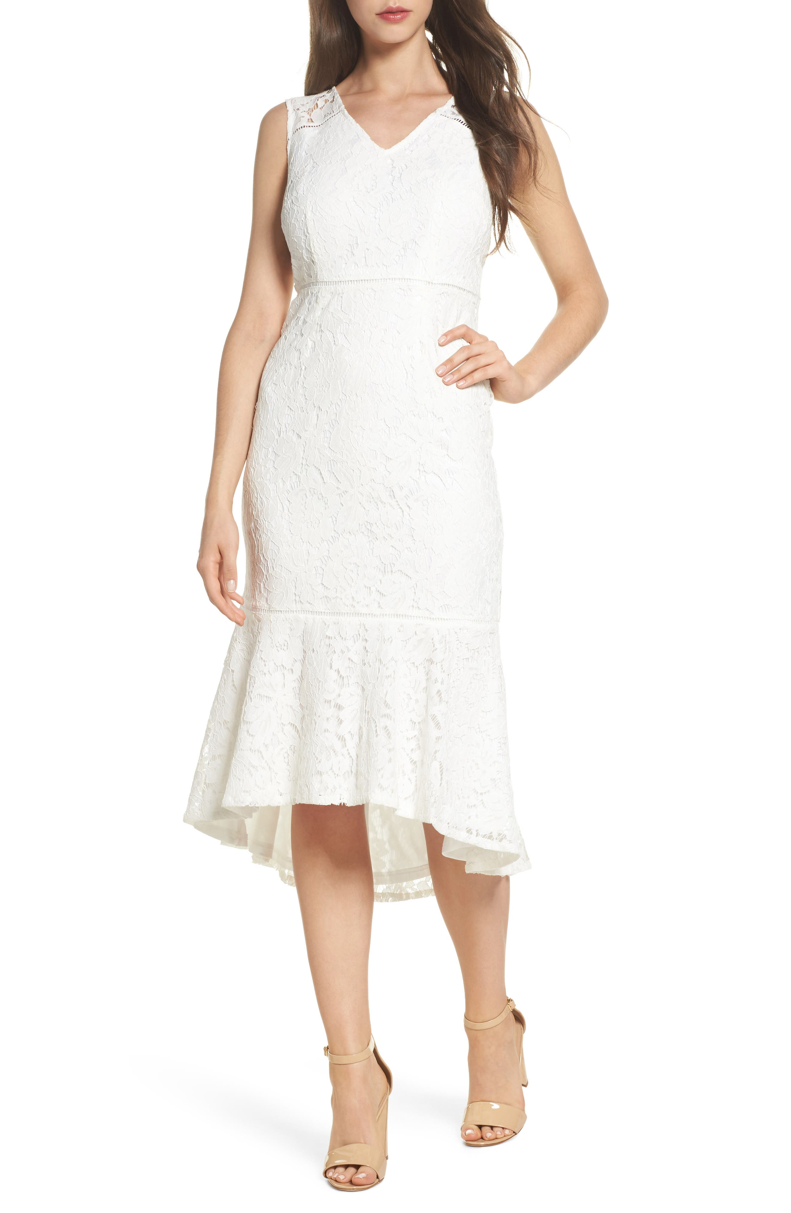 Adrianna Papell Cynthia Lace Flounce Hem Sheath Dress