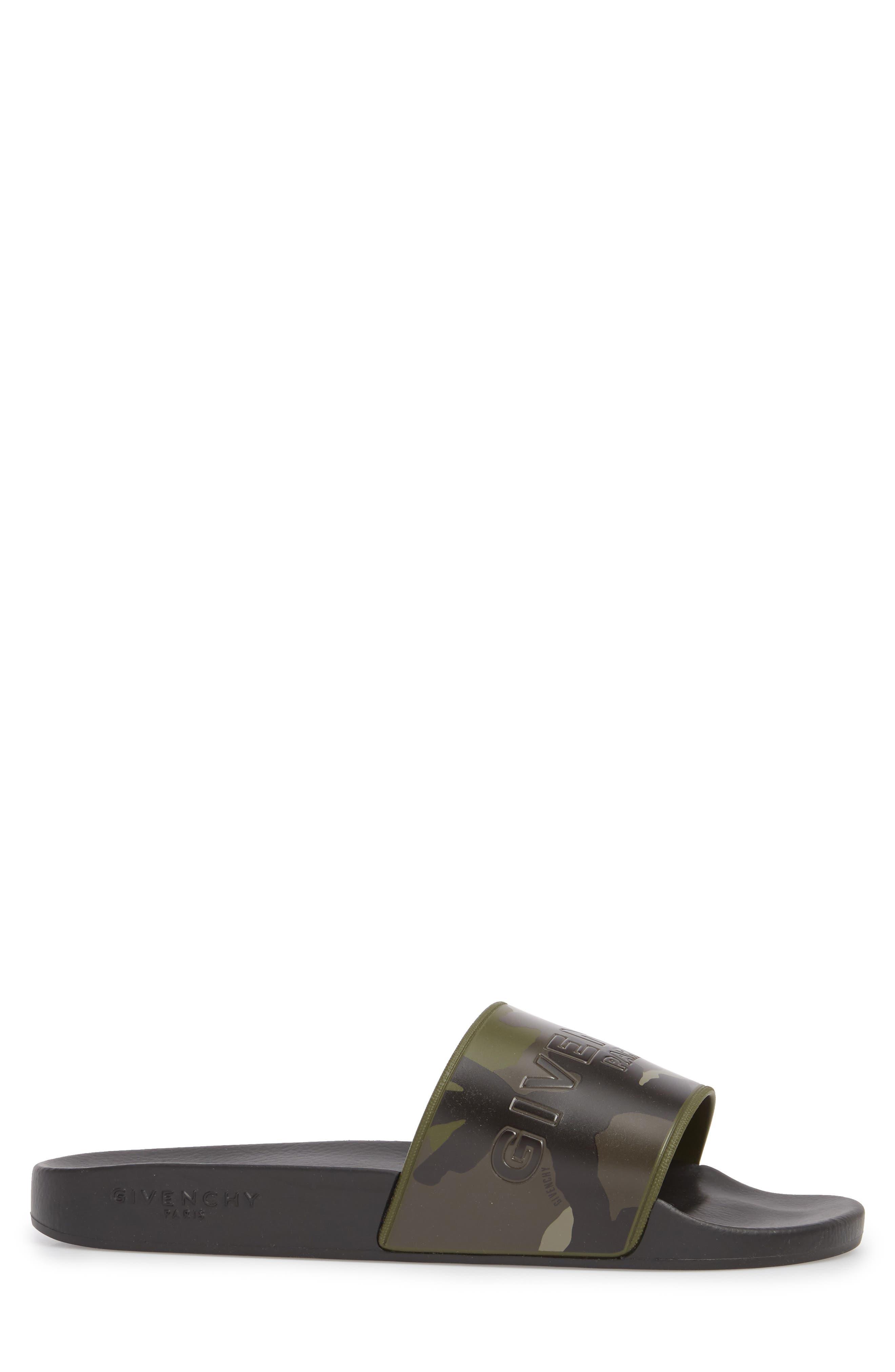 Camo Logo Pool Sandal,                             Alternate thumbnail 3, color,                             Black/ Khaki