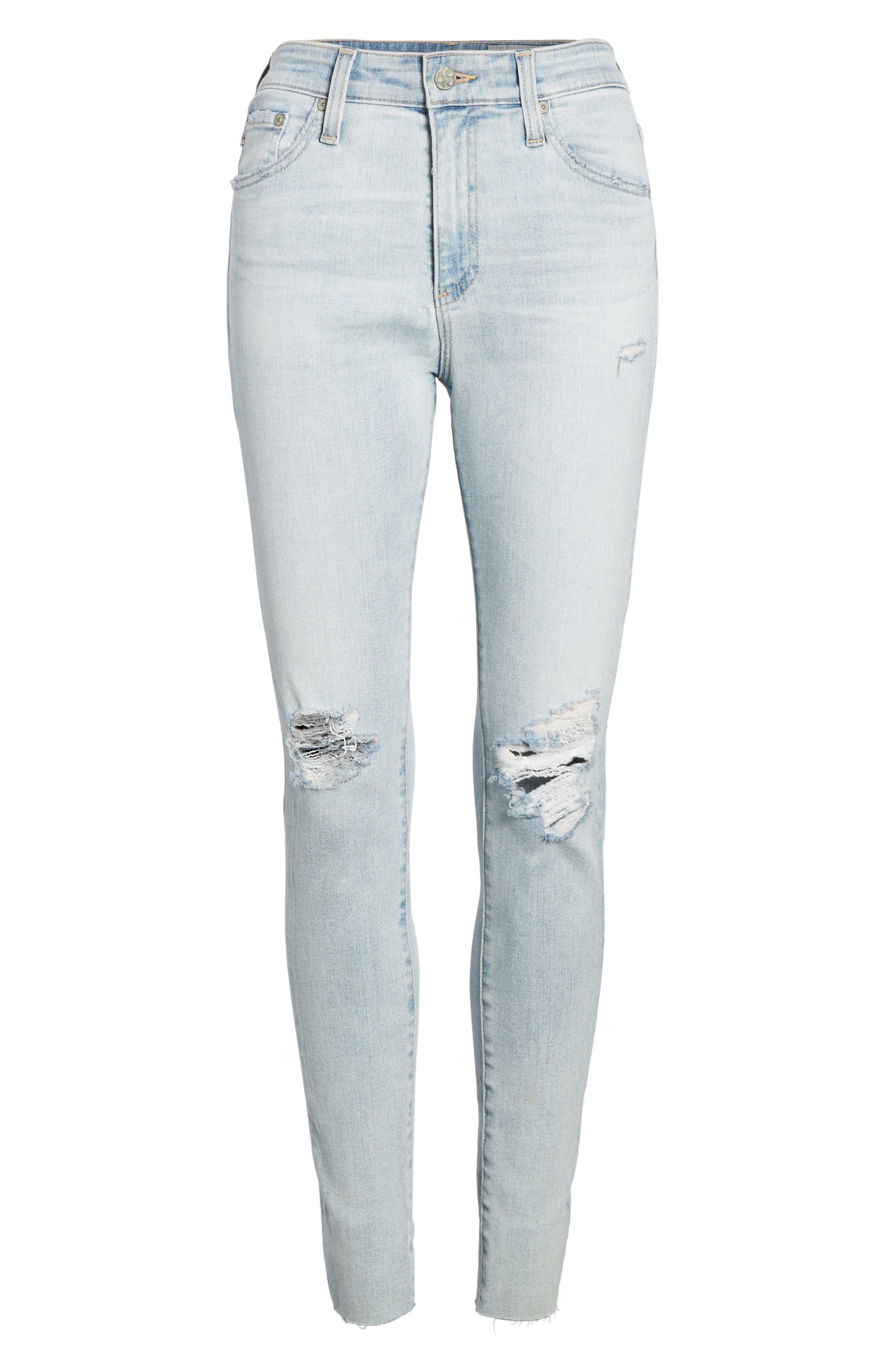 The Farrah High Waist Ankle Skinny Jeans,                             Alternate thumbnail 3, color,                             24 Years-Seabird