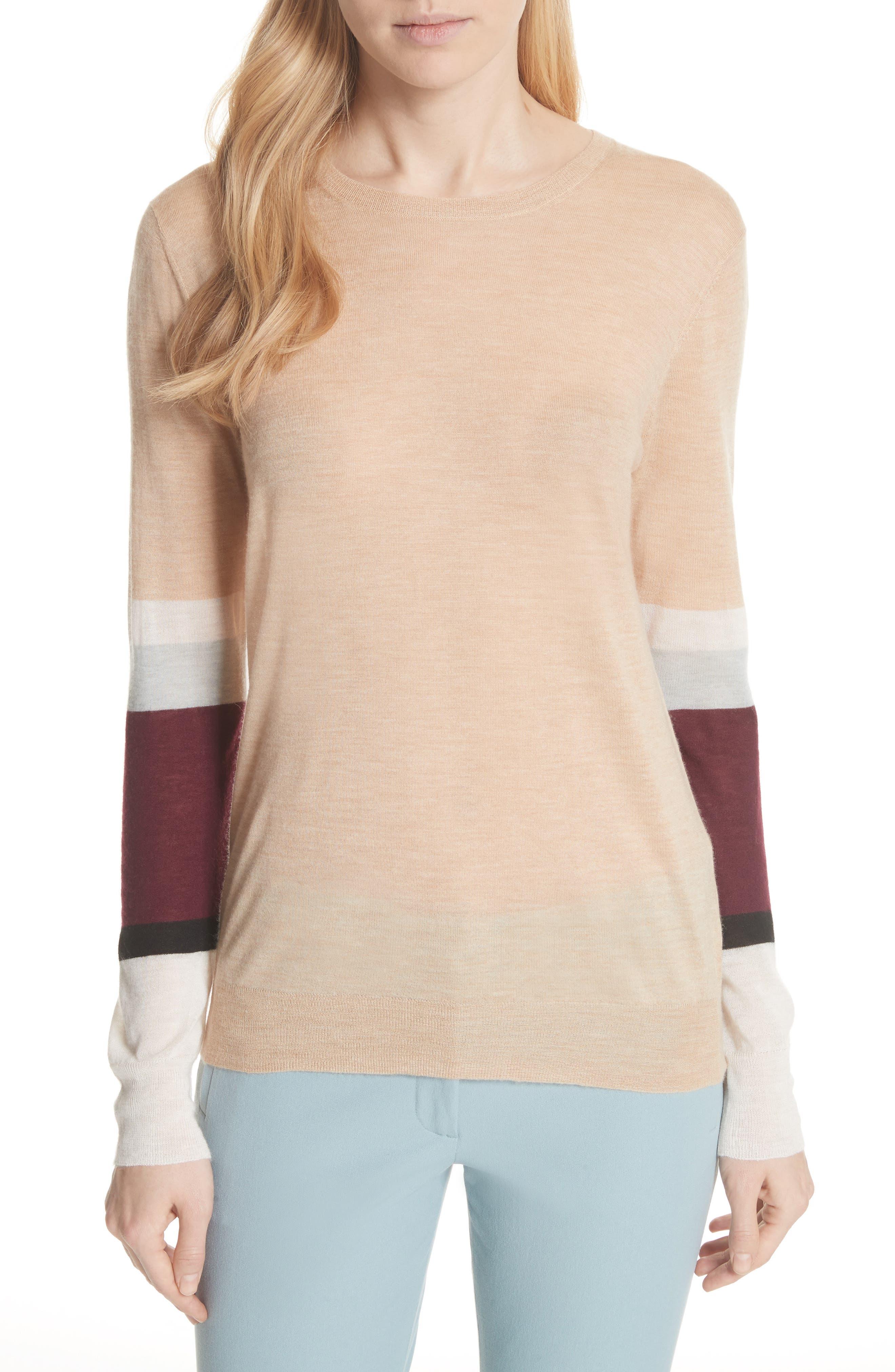 JOSEPH Stripe Sleeve Cashair Sweater