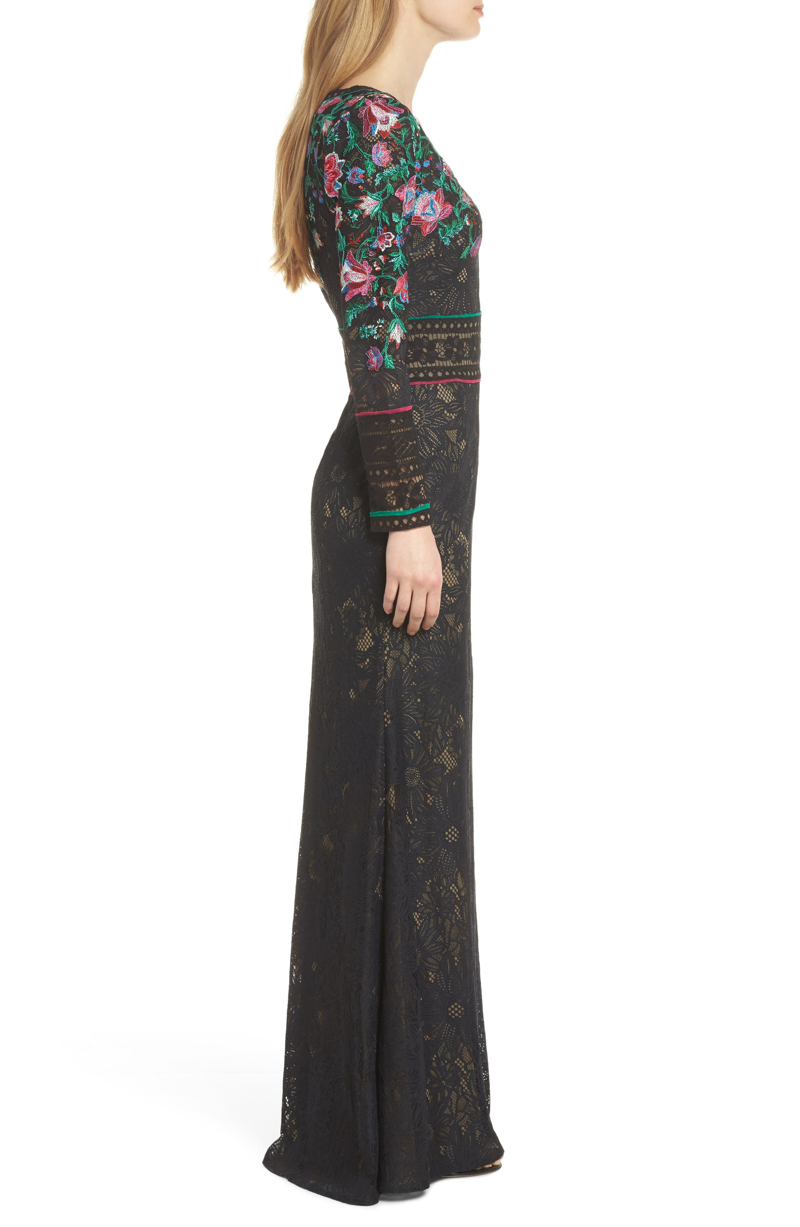 Embroidered Lace A-Line Gown,                             Alternate thumbnail 3, color,                             Black Dahlia