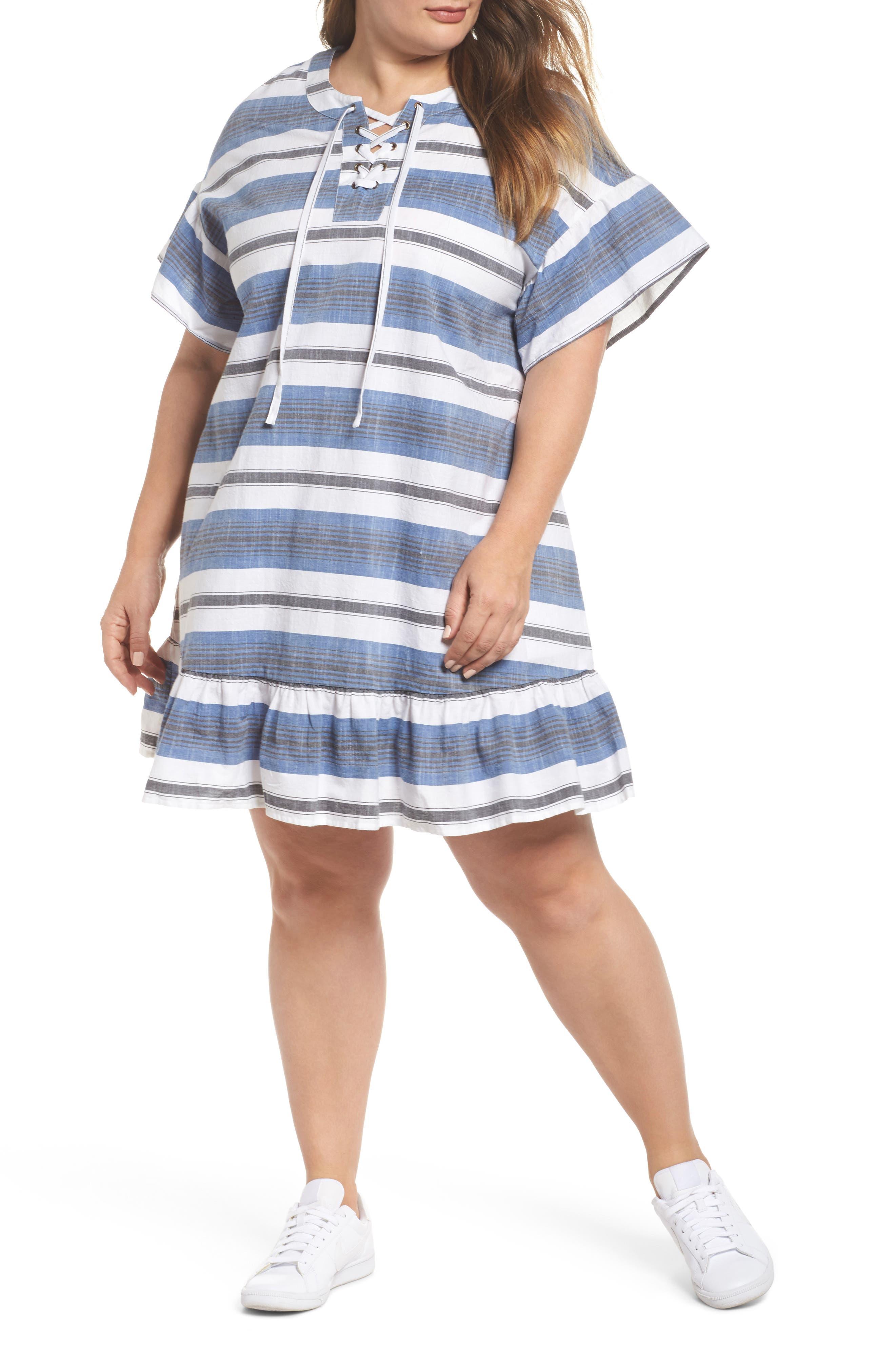 Lace-Up Stripe Dress,                         Main,                         color, Blue Multi