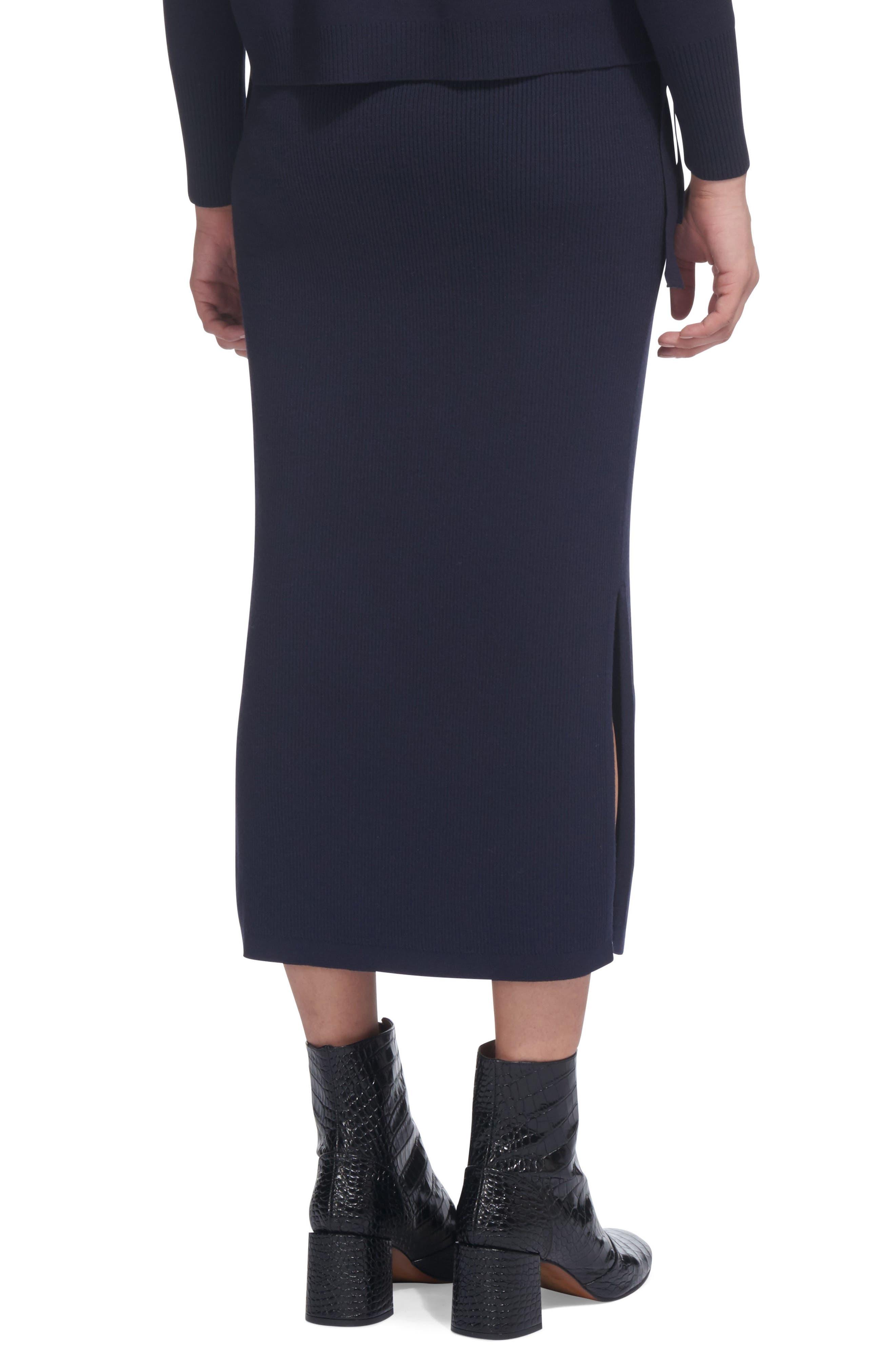 Drawstring Knit Midi Skirt,                             Alternate thumbnail 2, color,                             Navy