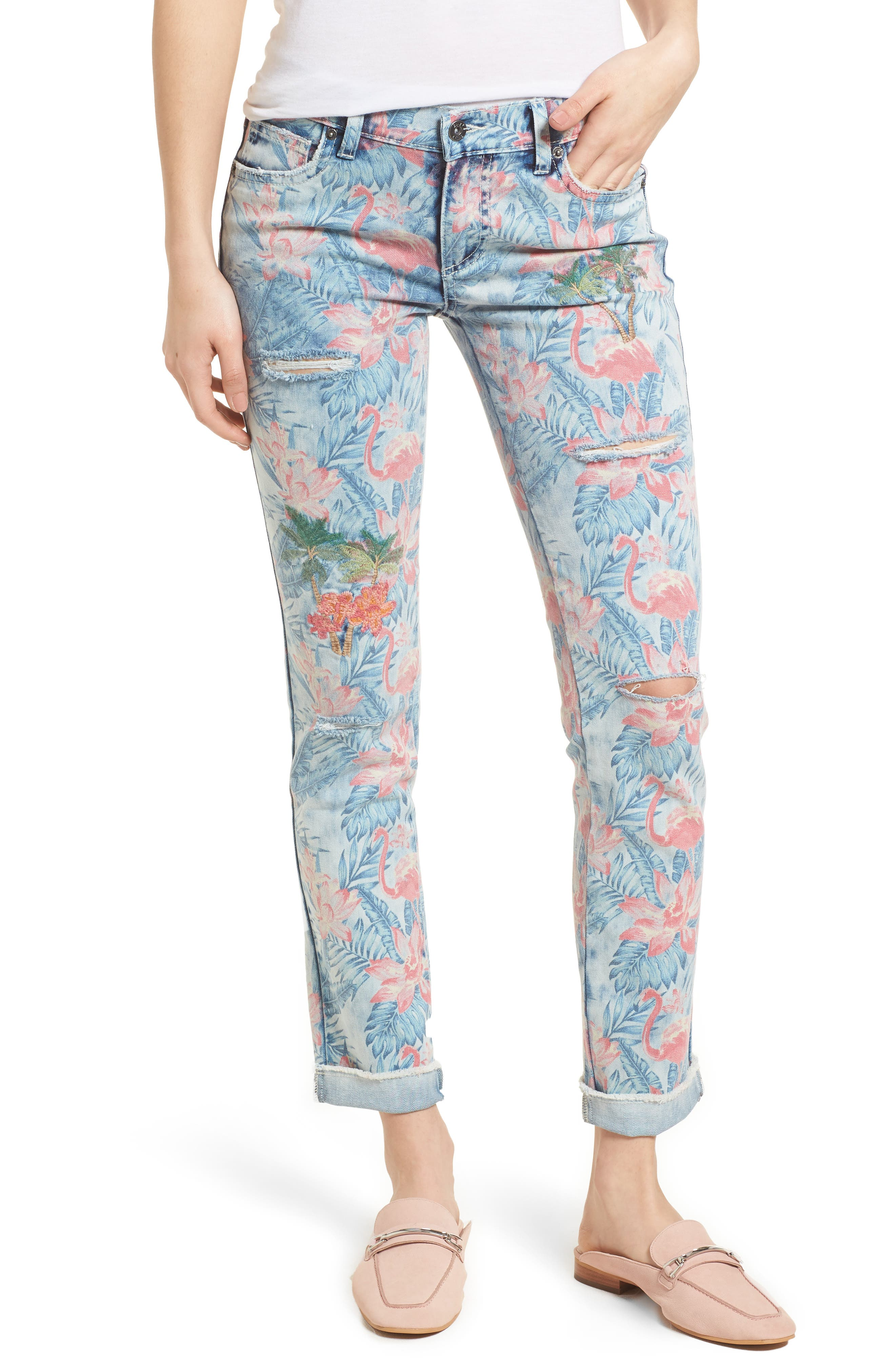 Embroidered Distressed Flamingo Jeans,                             Main thumbnail 1, color,                             Light Blue Paradise